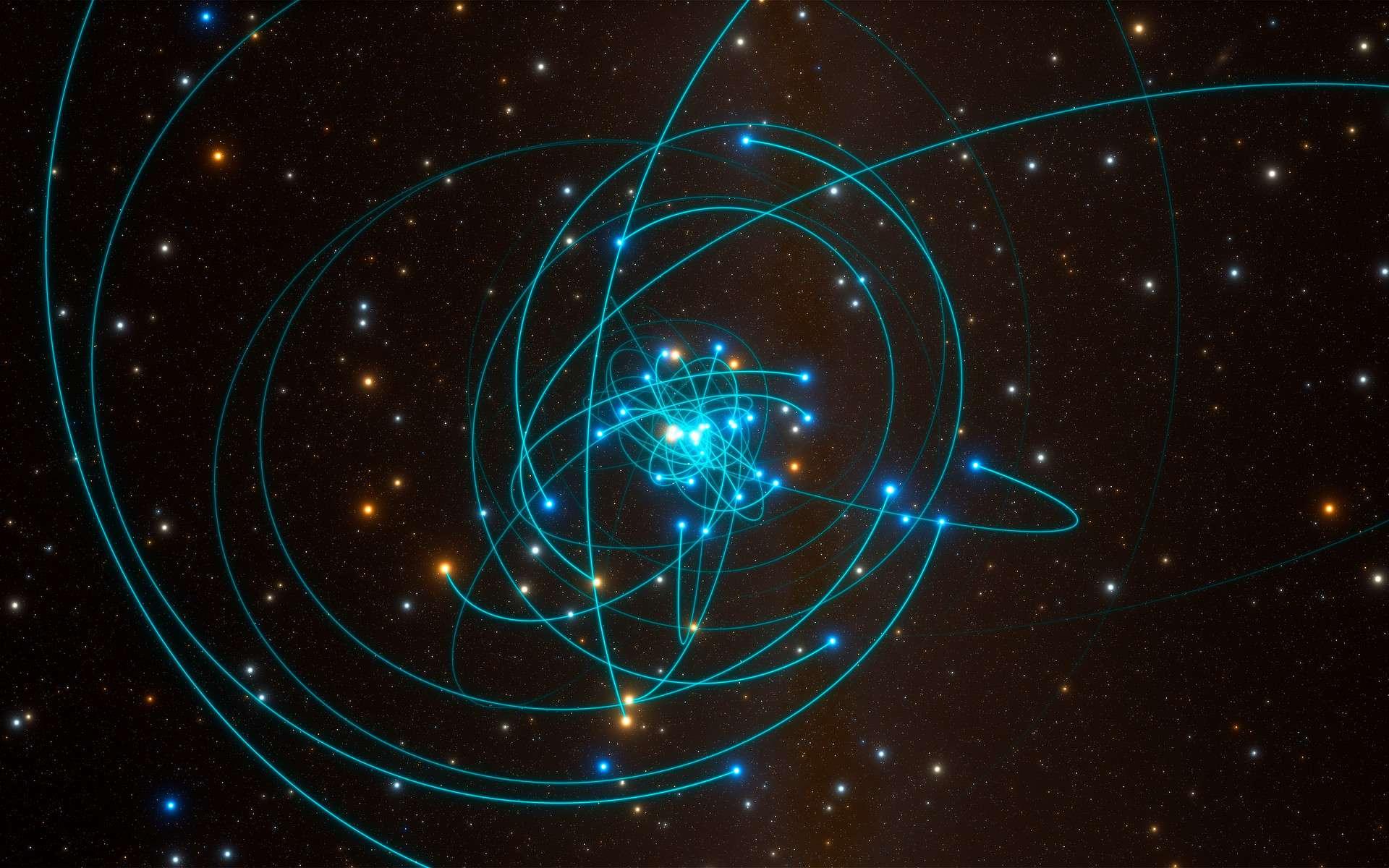 Cette simulation figure les orbites d'étoiles situées à très grande proximité du trou noir supermassif qui occupe le centre de la Voie lactée. L'une de ces étoiles, baptisée S2, est caractérisée par une périodicité orbitale de 16 années. Elle passa à très grande proximité du trou noir en mai 2018. Cet environnement constitue le laboratoire de test idéal de la physique gravitationnelle, et plus particulièrement de la théorie de la relativité générale d'Einstein. © ESO, L. Calçada, spaceengine.org