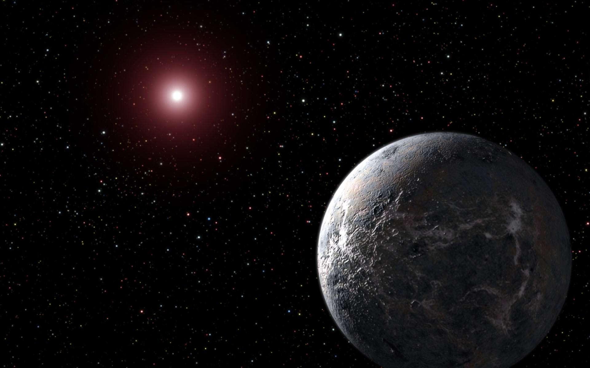 Illustration d'une superterre en orbite autour d'une naine rouge. © Nasa