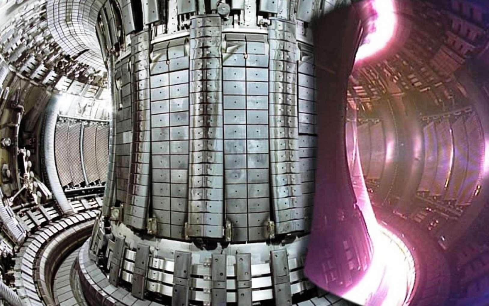 L'intérieur du tokamak européen, le Jet, avec du plasma en fonctionnement sur l'image de droite. © EFDA JET