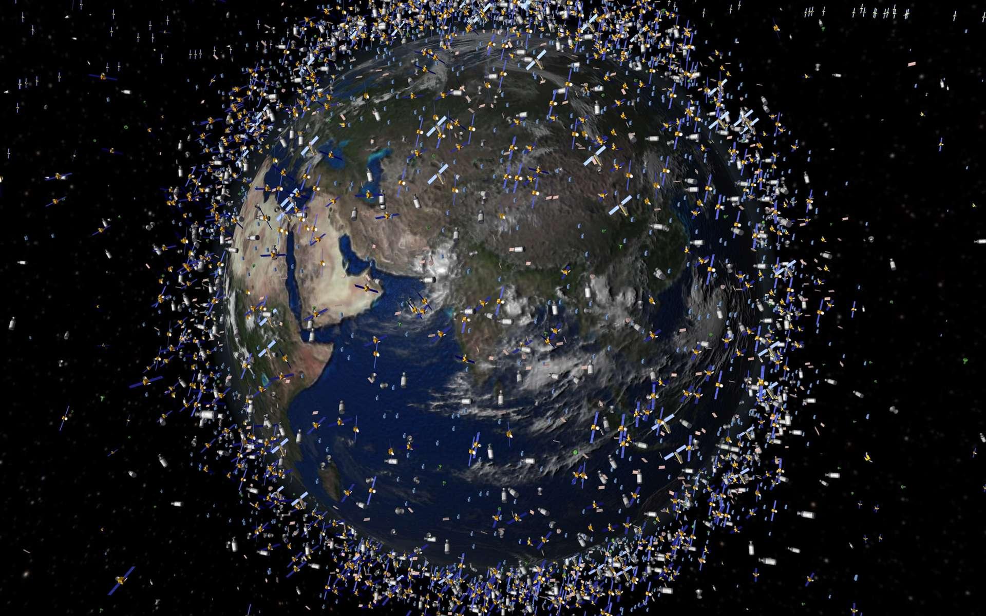 Si rien n'est fait pour éviter l'accroissement du nombre de débris spatiaux en orbite autour de la Terre, l'Homme risque de rendre certaines orbites inutilisables, à jamais. © Esa, 2009