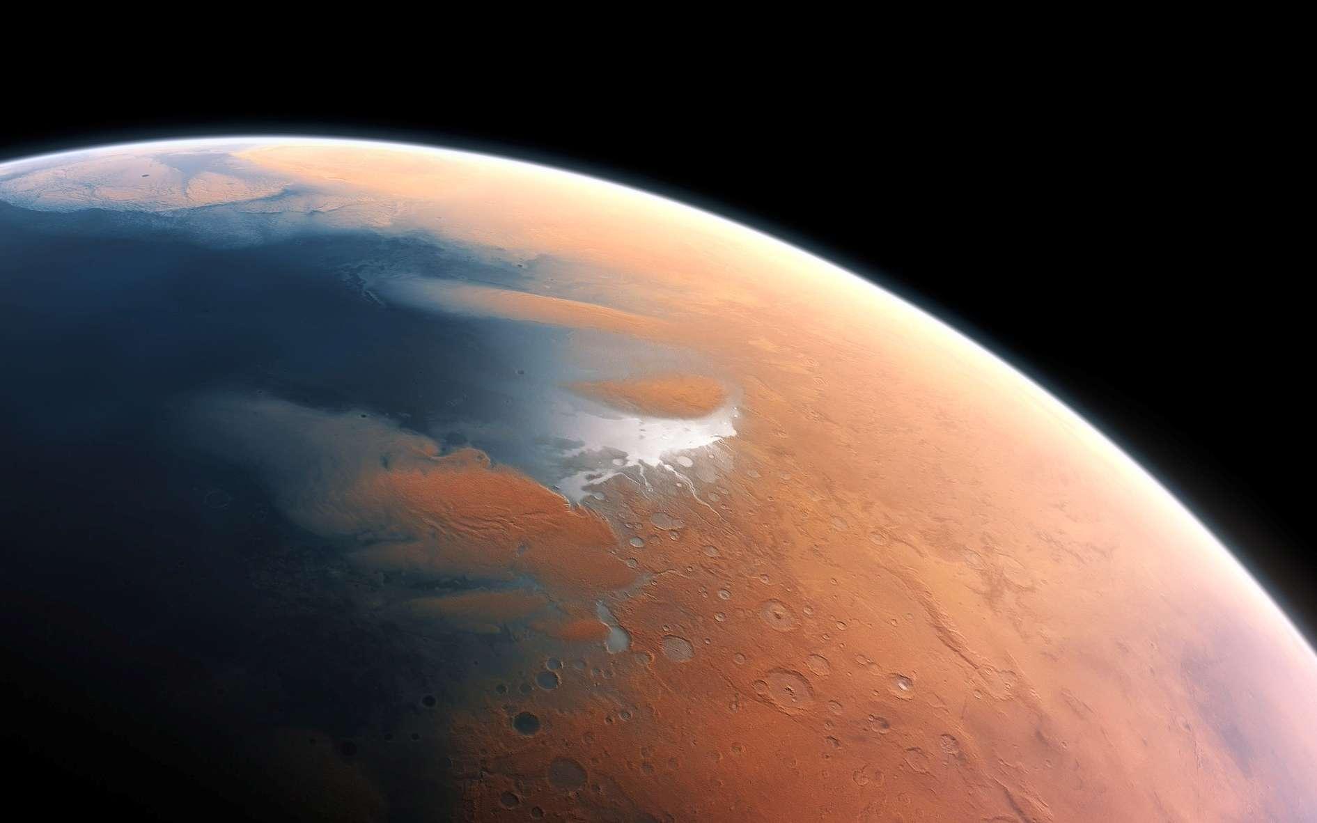 Cette vue d'artiste montre à quoi devait ressembler Mars voici quatre milliards d'années. La toute jeune planète devait renfermer suffisamment d'eau liquide pour que l'intégralité de sa surface en soit couverte, sur une hauteur d'environ 140 mètres. Il semble plus probable toutefois que l'eau liquide se soit constituée en un océan occupant près de la moitié de l'hémisphère nord de la planète. Dans certaines régions, la profondeur de cet océan pouvait dépasser 1,6 kilomètre. © ESO, M. Kornmesser