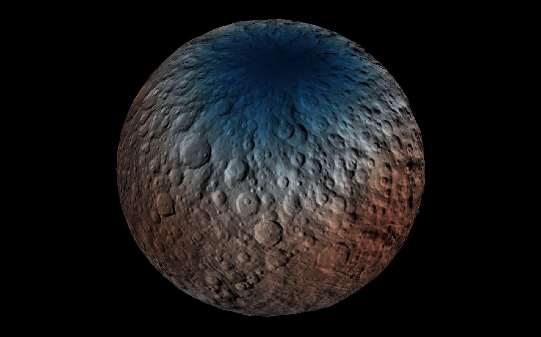 La détection des neutrons avec l'instrument GRaND, de la sonde Dawn, dans l'hémisphère nord de Cérès indique une plus grande proportion d'hydrogène près des pôles qu'aux basses latitudes. Les mesures suggèrent une présence d'eau dans cette région polaire, sous la surface, à moins d'un mètre de profondeur. © Nasa, JPL-Caltech, UCLA, ASI, INAF