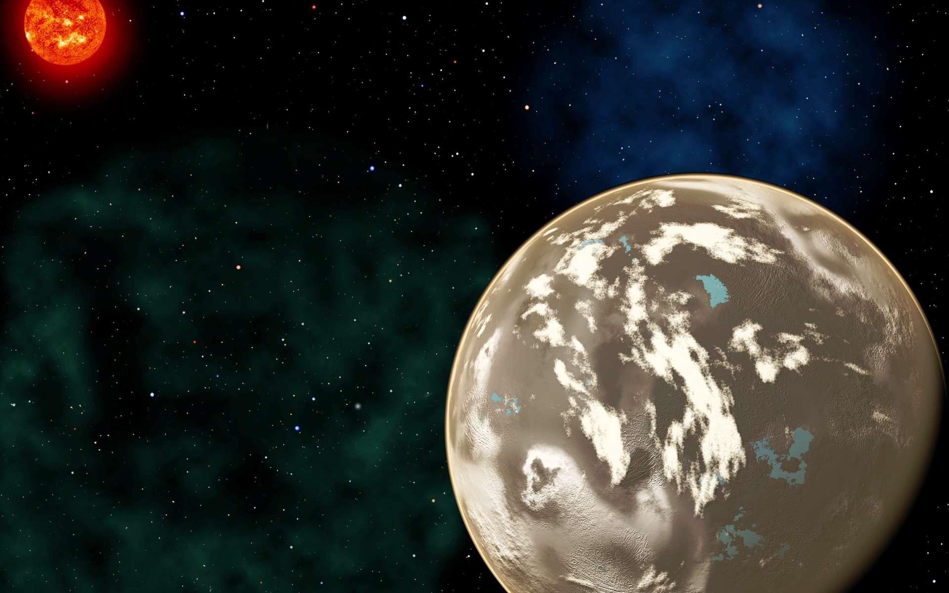 Les plus anciennes formes de vie seraient nées sur des planètes carbonées. Ici, une vue d'artiste représentant une planète de ce type autour de son étoile. Elle pourrait contenir de l'eau liquide en surface mais aussi des hydrocarbures et être constituée d'une fine couche de graphite et de diamant. © Christine Pulliam