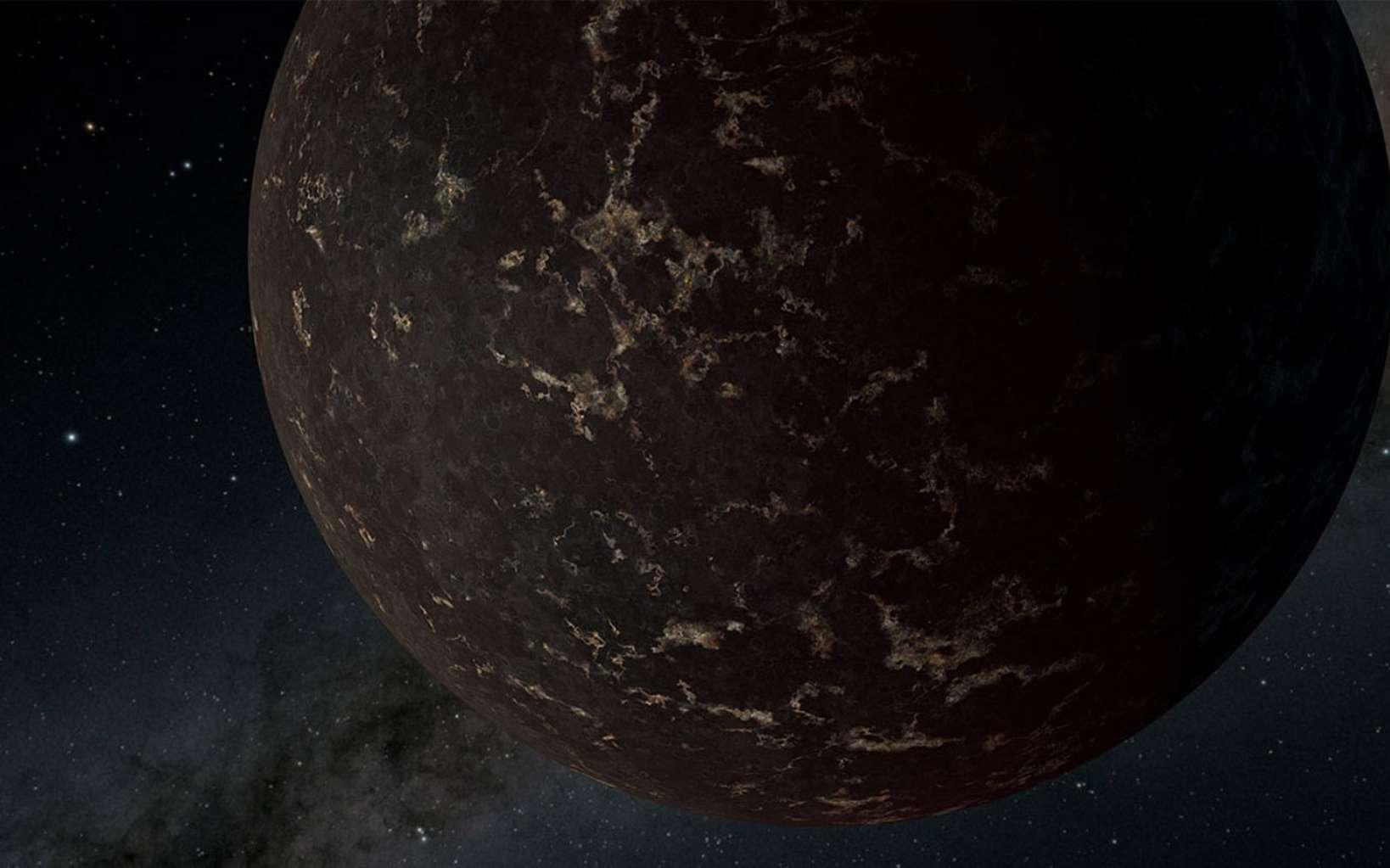 Vue d'artiste de l'exoplanète LHS 3844 b autour d'une étoile naine M. D'après les observations du télescope spatial Spitzer de la Nasa, la surface de la planète pourrait être principalement recouverte de laves sombres, sans atmosphère apparente. © Nasa / JPL-Caltech / R. Hurt (Ipac)