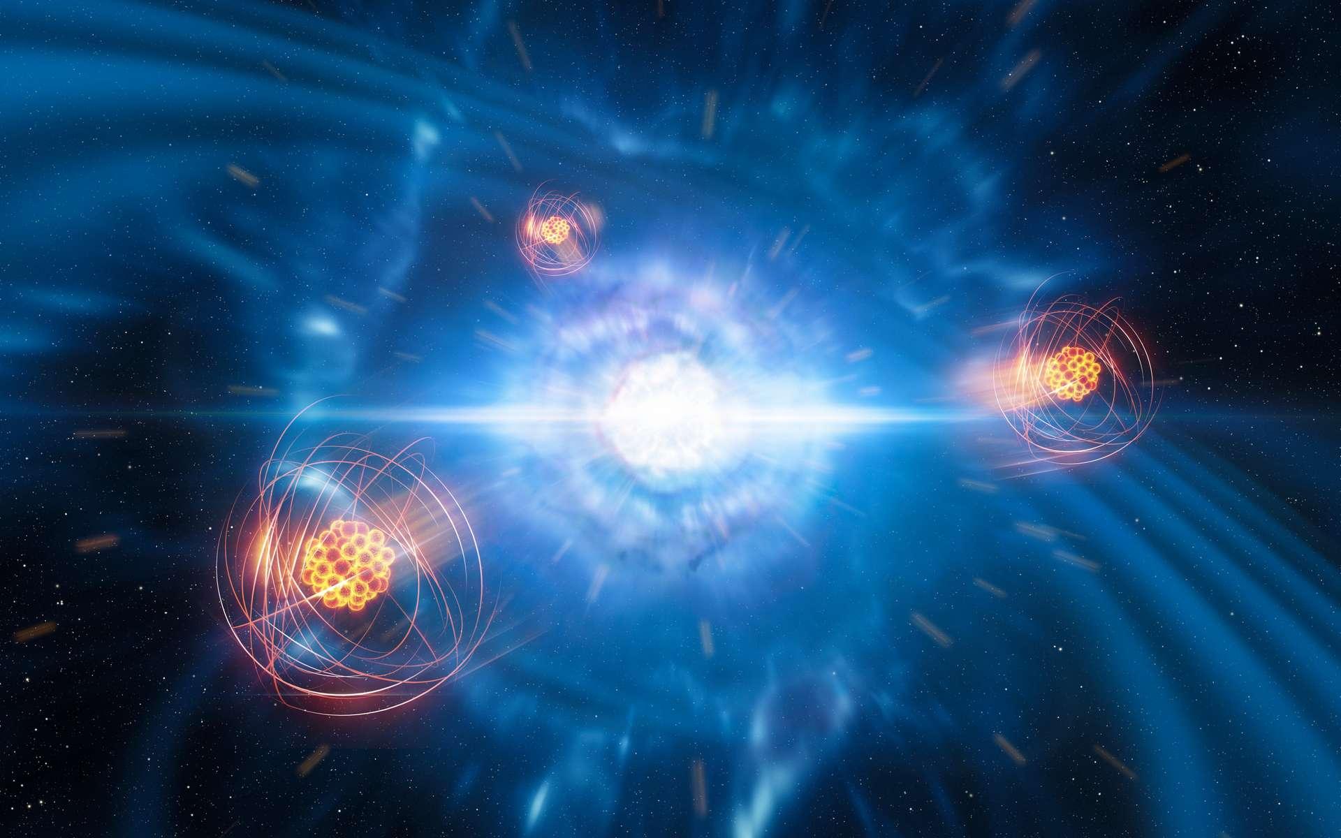 Sur cette vue d'artiste figurent deux étoiles à neutrons de faibles dimensions mais de densités élevées sur le point de fusionner et d'exploser en kilonova. À l'avant-plan figure une représentation du strontium nouvellement créé. © ESO, L. Calçada, M. Kornmesser