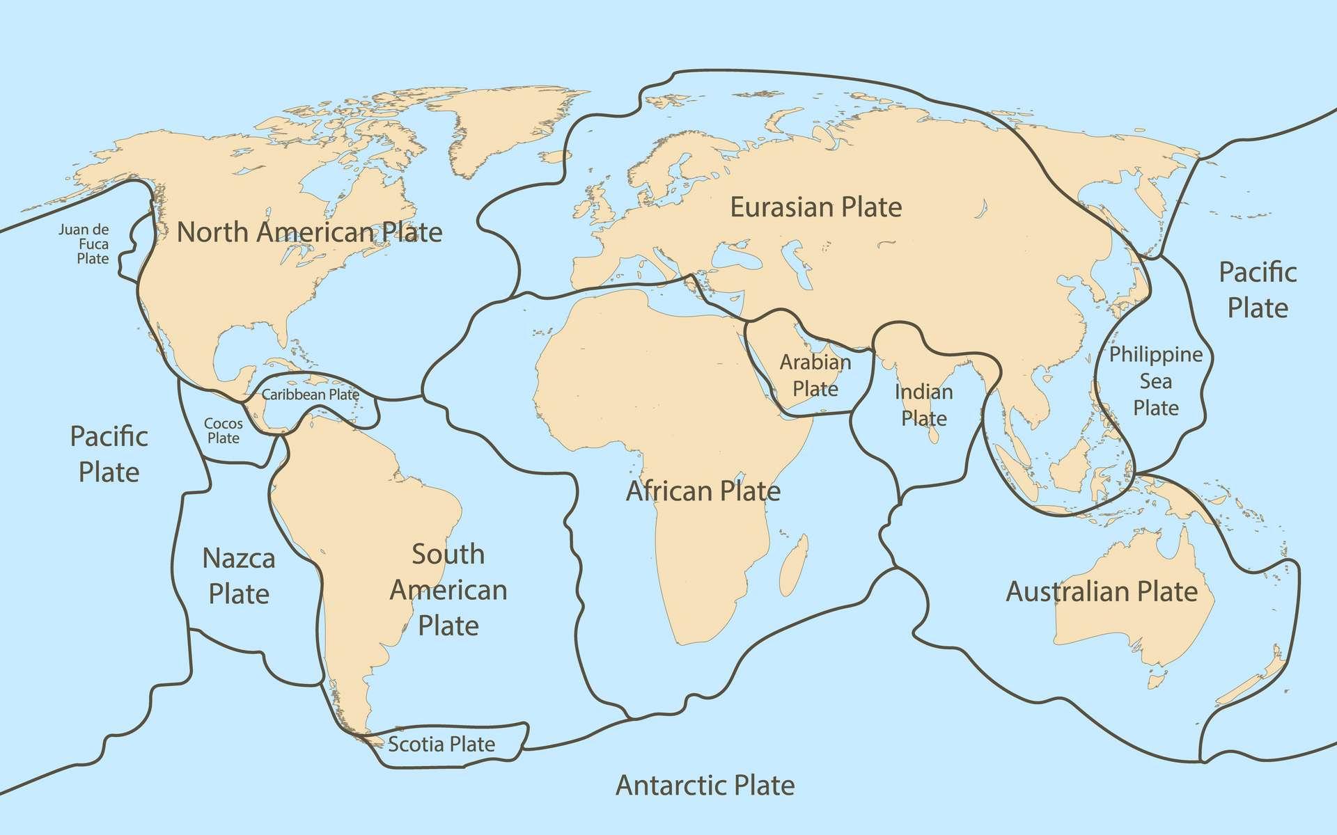 La lithosphère — enveloppe rigide recouvrant la Terre — est scindée en différentes plaques tectoniques. © kolonko, Adobe Stock