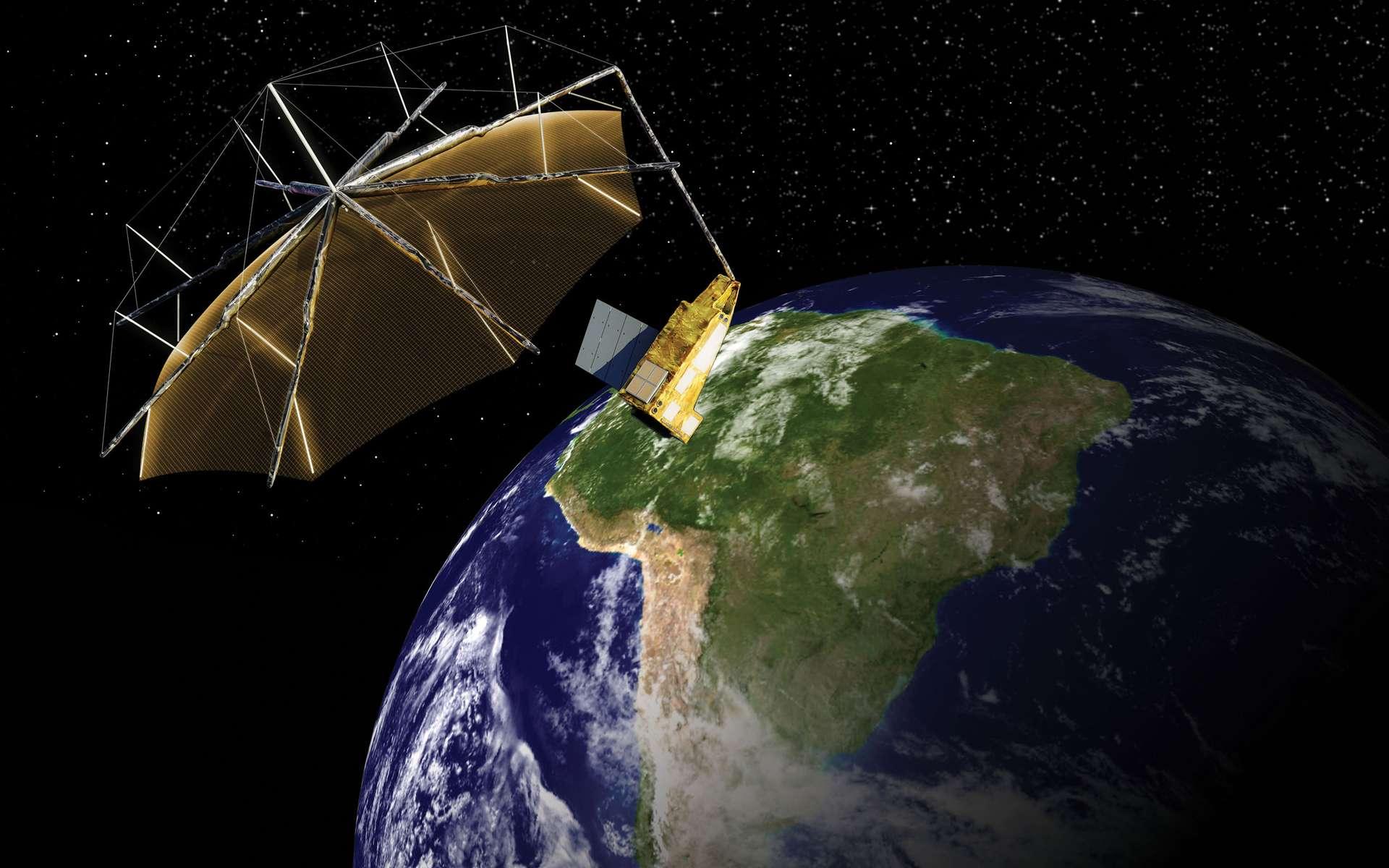 Biomass sera construit autour de la version M de la plateforme AstroBus qui a notamment été utilisée pour les missions Spot 6 et 7, KazEOSat-1, Ingenio et Sentinel-5 Precursor. L'antenne radar de 12 m est un défi technique. Pour le lancement, elle sera pliée dans la coiffe du lanceur et se déploiera en orbite mais avec précaution car le satellite (2 x 4,5 m) est nettement plus petit qu'elle. © Airbus DS