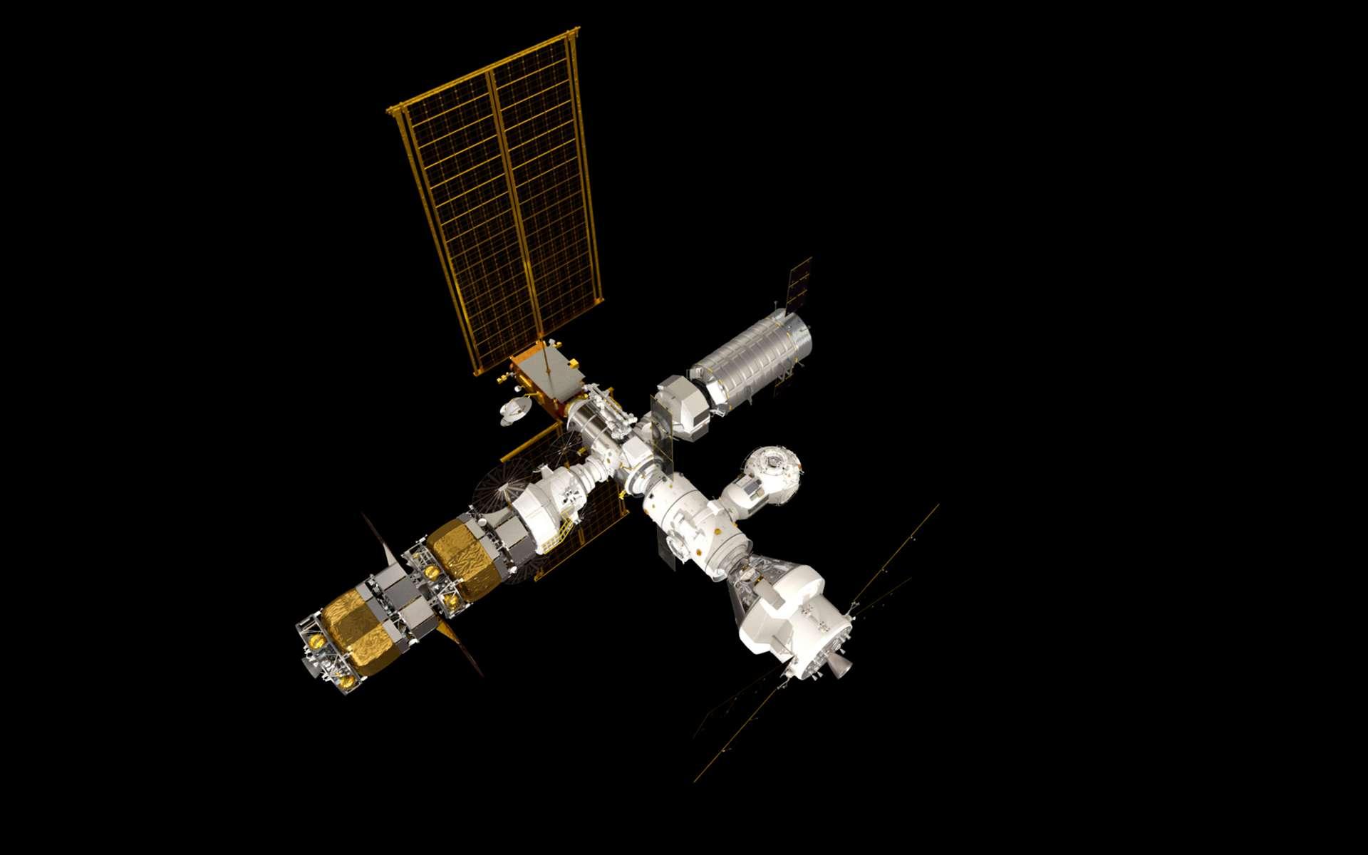 Le Gateway avec le véhicule Orion. © ESA