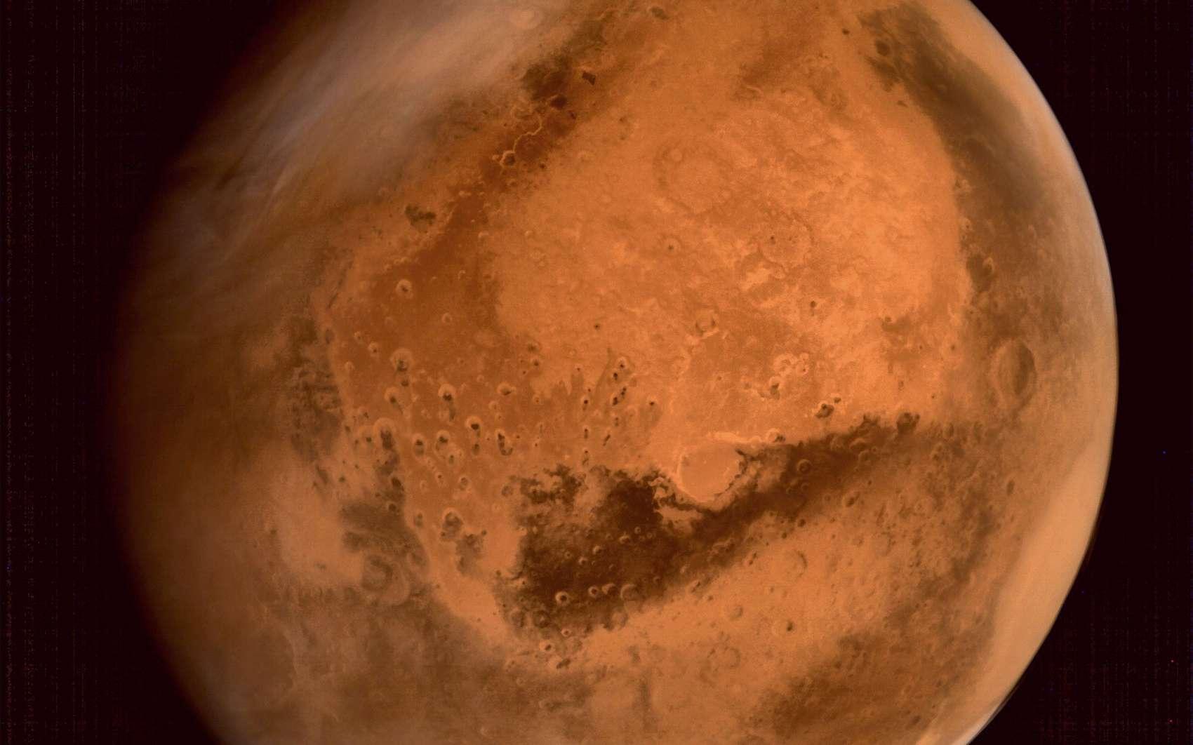 La planète Mars vue par la sonde MOM de l'agence spatiale indienne. © Isro