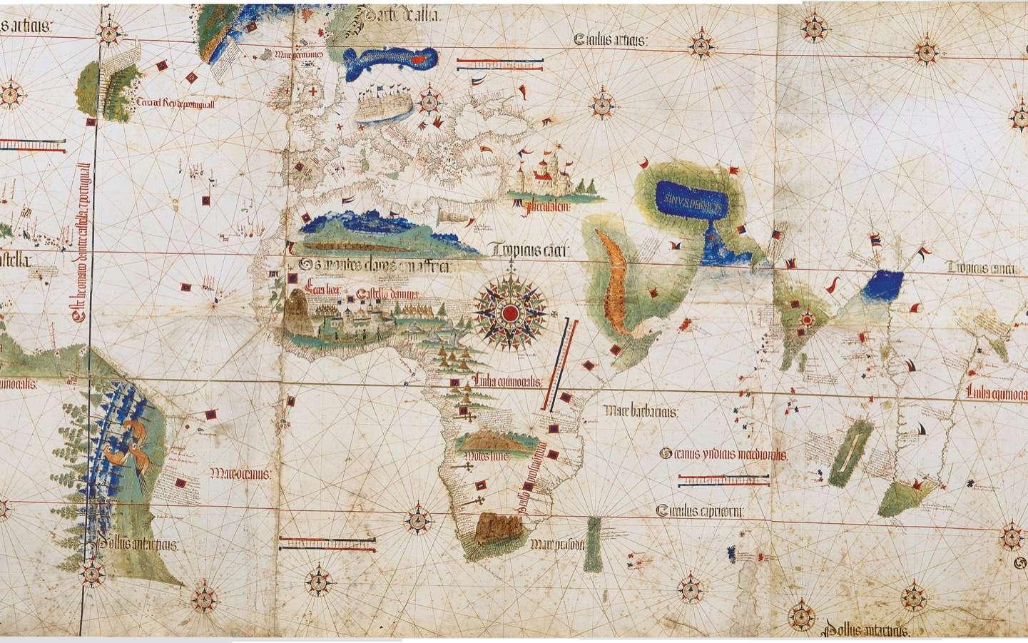 La carte du monde de Cantino, Biblioteca Estense, Modène, (Italie). © Wikimedia Commons, domaine public