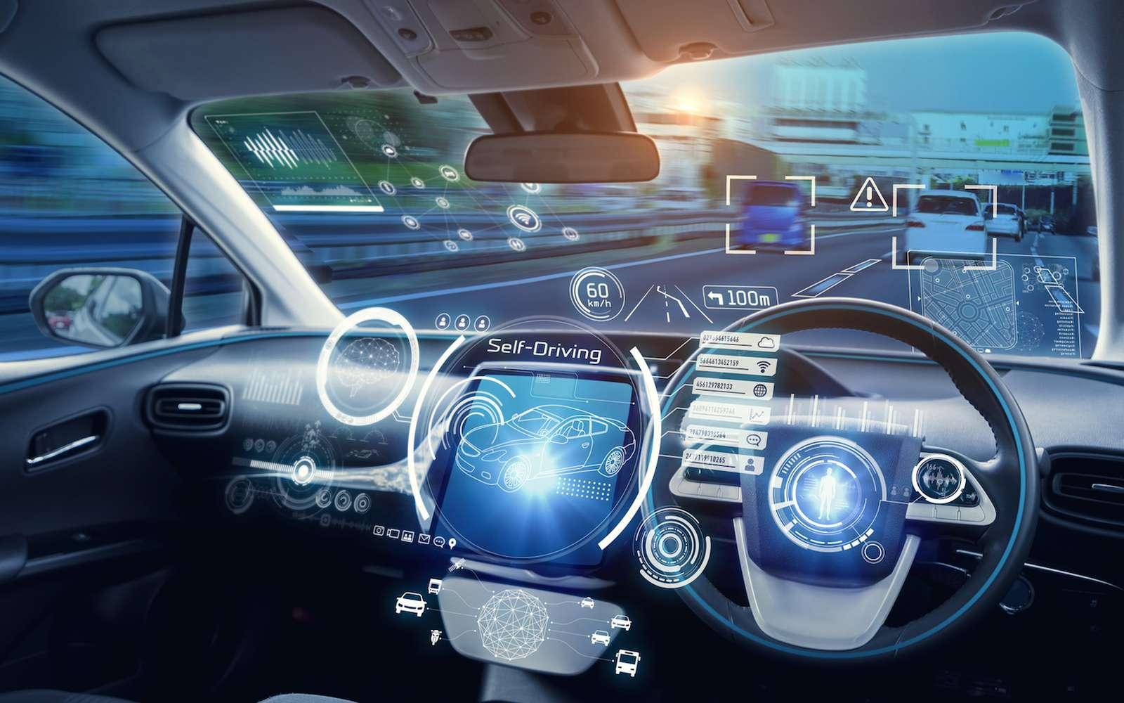 Pour rassurer les passagers, un pare-brise en réalité augmentée pourrait afficher les manœuvres à venir de la voiture autonome, mais aussi afficher des informations liées à la circulation ou à des obstacles présents sur la route. © Metamorworks