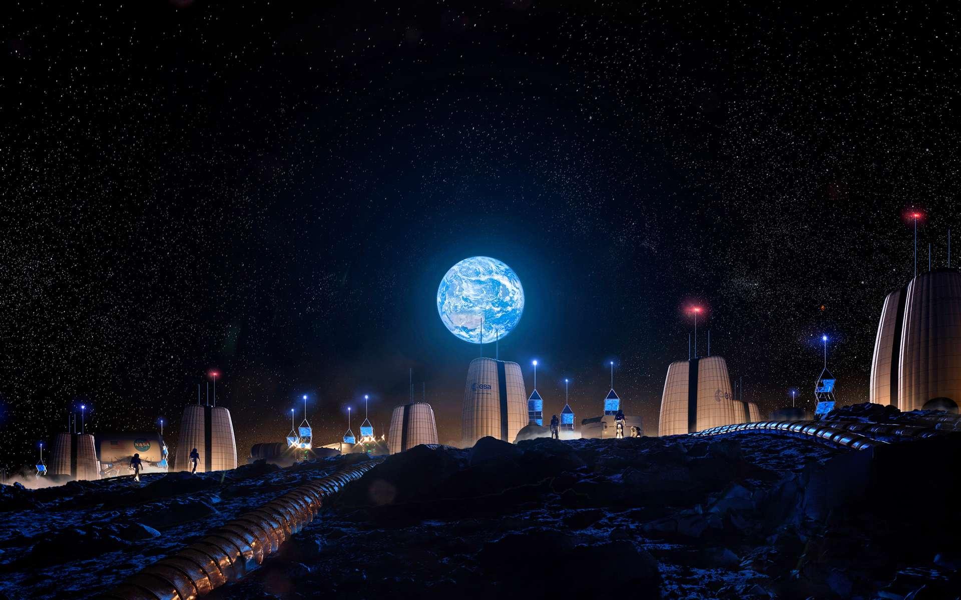 Concept de base lunaire, installée en bordure de cratère, réalisé par le Cabinet d'architectes Skidmore, Owings & Merrill pour le compte de l'ESA. © SOM