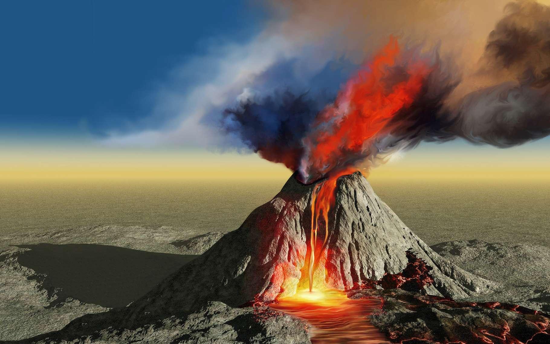 Se basant sur des analyses des émissions de CO2 par les volcans entrés en éruption à cette période du côté des trapps du Deccan (Inde), des chercheurs de l'Université de la ville de New York (États-Unis) estiment que l'événement n'est pas en lien avec l'extinction des dinosaures. © Catmando, Adobe Stock