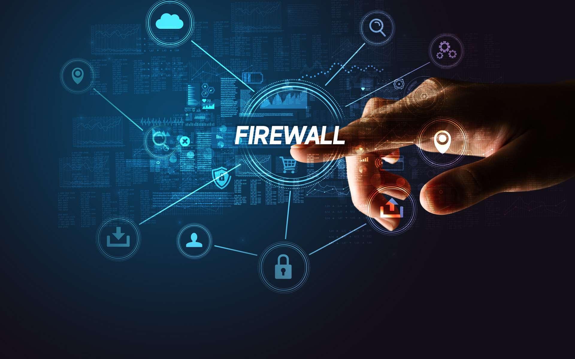 Exemple en images d'un firewall (''mur de feu'') filtrant les échanges de données entre un ordinateur et Internet. Les connections en rouge sont refusées, alors que celle en verte est autorisée. © Adobe Stock, ra2 studio