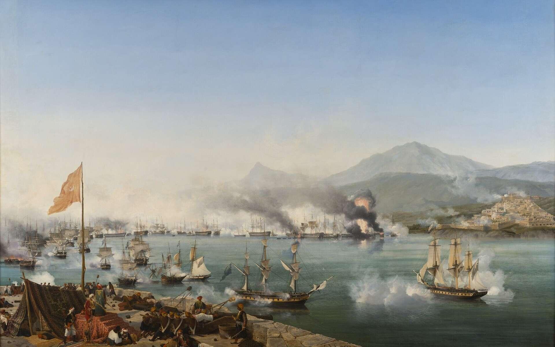 La bataille navale de Navarin (octobre 1827) illustrant la coalition du Royaume-uni, de la France, et de la Russie contre l'Empire ottoman, lors de la guerre d'indépendance de la Grèce. © Garneray, Wikimedia Commons, DP