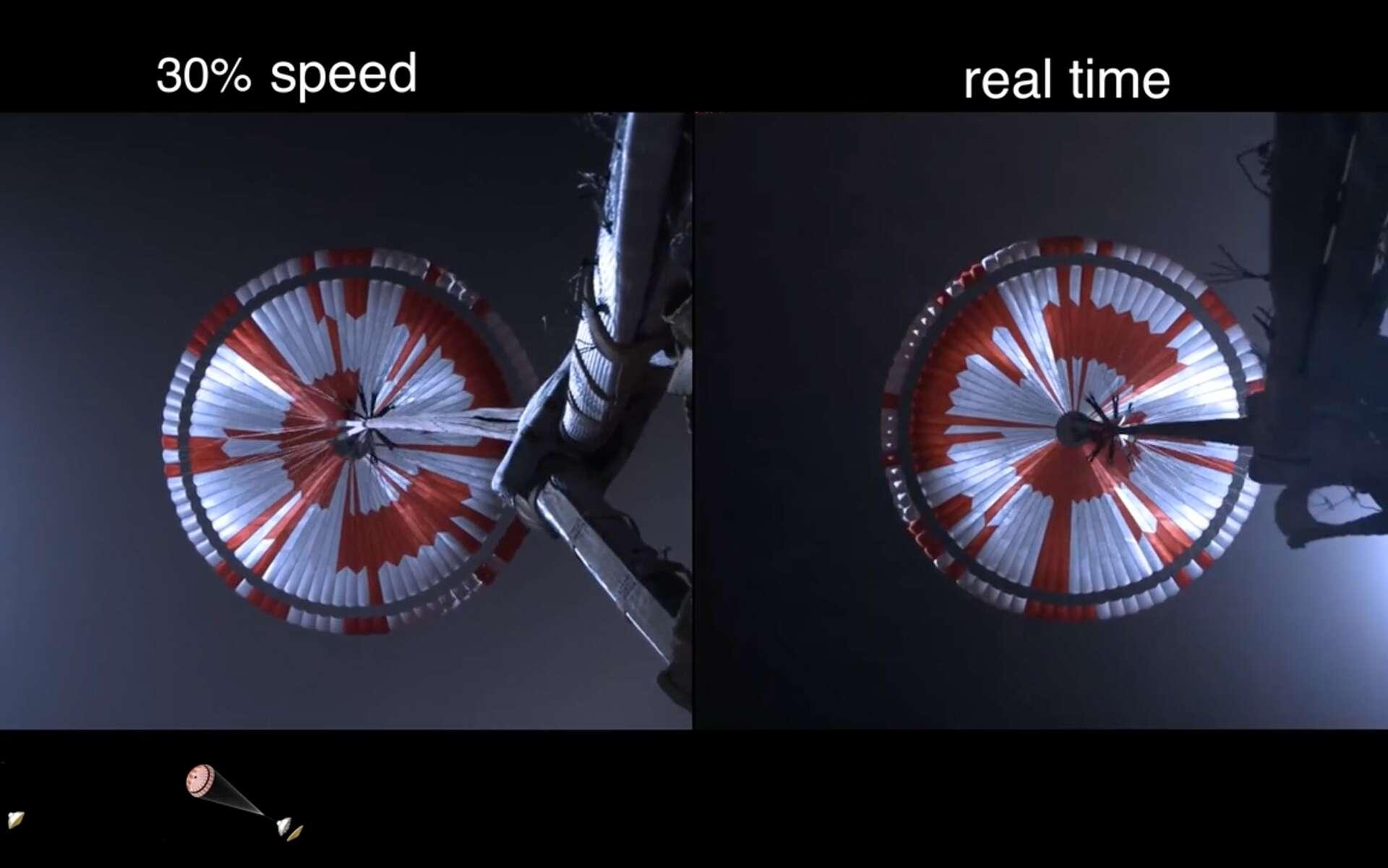 Ouverture du parachute principal de Perseverance lors de sa descente dans l'atmosphère martienne. © Nasa, YouTube