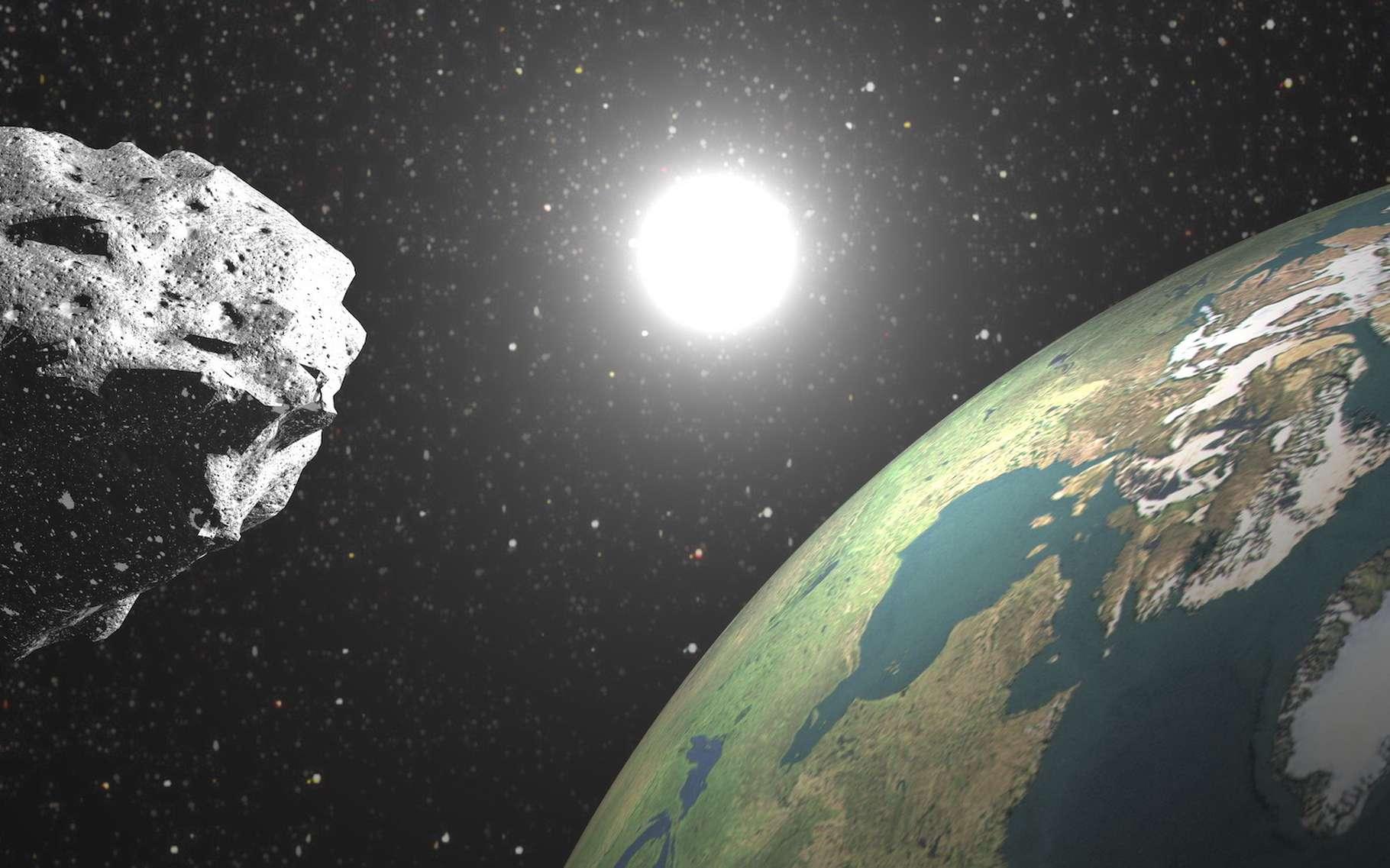 Les chercheurs surveillent la course de nombreux astéroïdes géocroiseurs. Une tâche délicate. Mais des astronomes de l'université de Leiden (Pays-Bas) pensent avoir mis au point une méthode plus efficace que jamais. © Elenarts, Adobe Stock