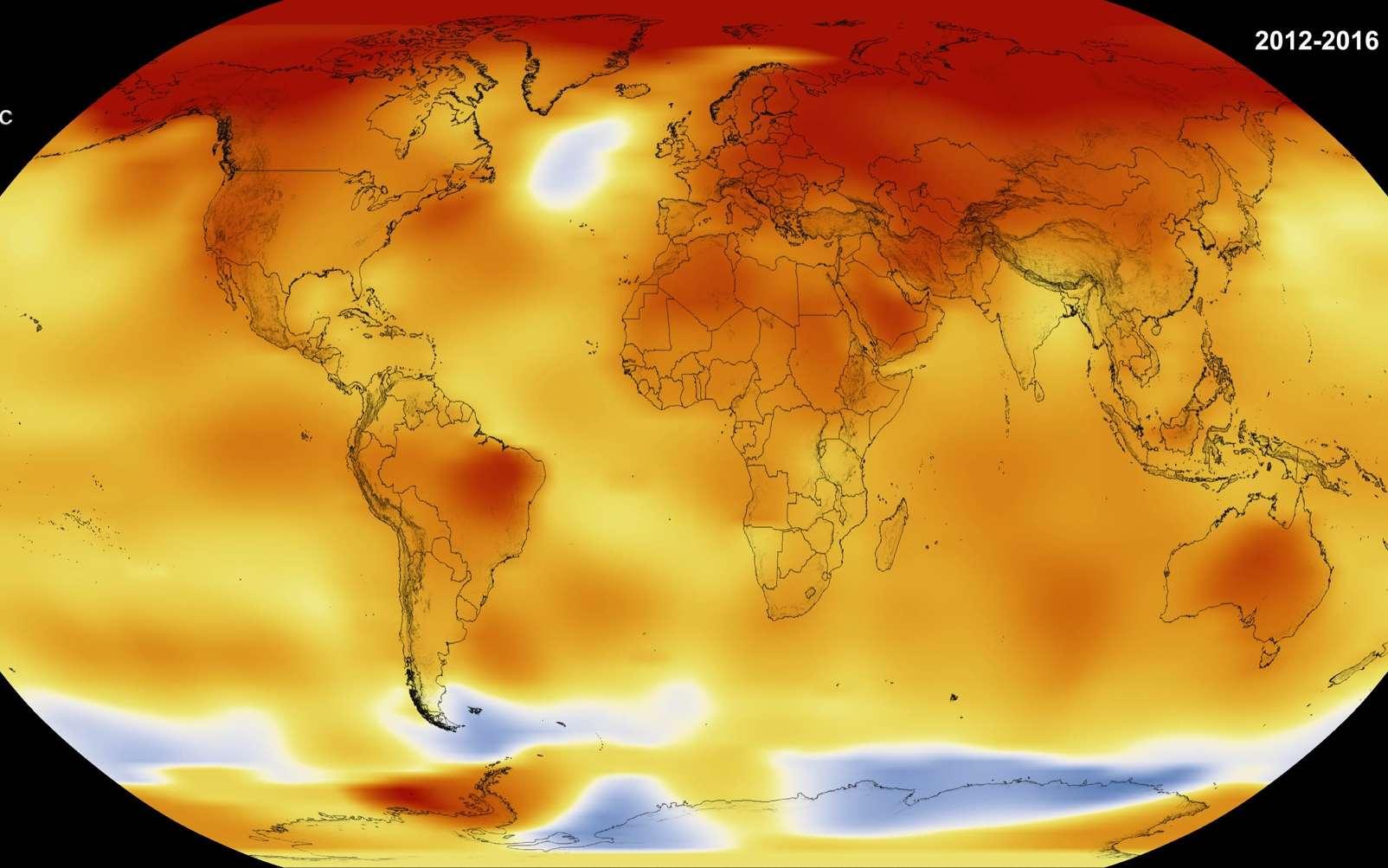 Anomalies des températures sur la période 2012-2016. © Nasa, Scientific Visualization Studio