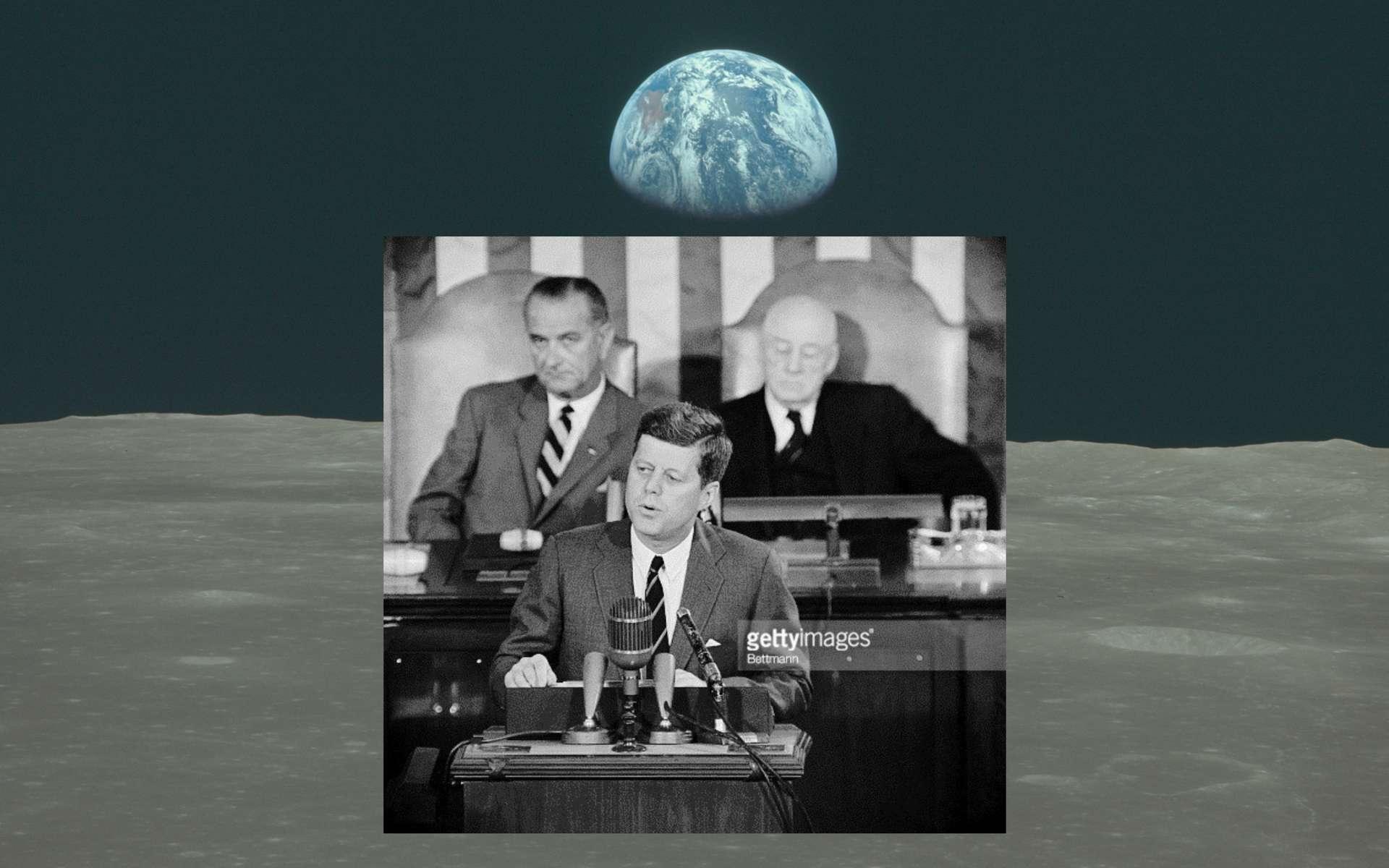 Le président américain John F. Kennedy lors de son discours devant le Congrès le 25 mai 1961. © Nasa