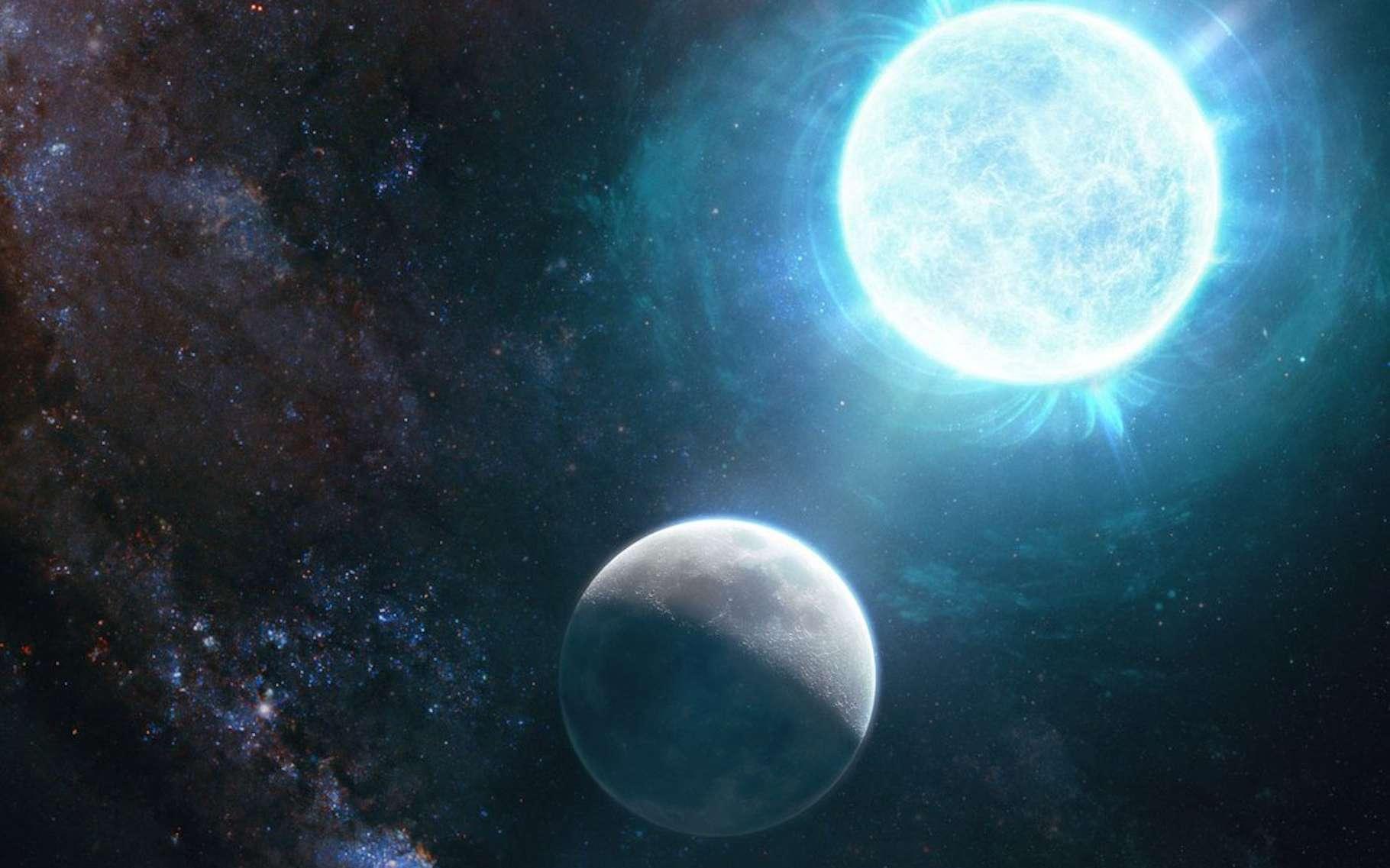 Des chercheurs de l'Institut de technologie de Californie (Caltech, États-Unis) ont découvert une naine blanche à peine plus grande que notre Lune. Mais renferme 1,35 fois la masse de notre Soleil ! © Giuseppe Parisi, Caltech