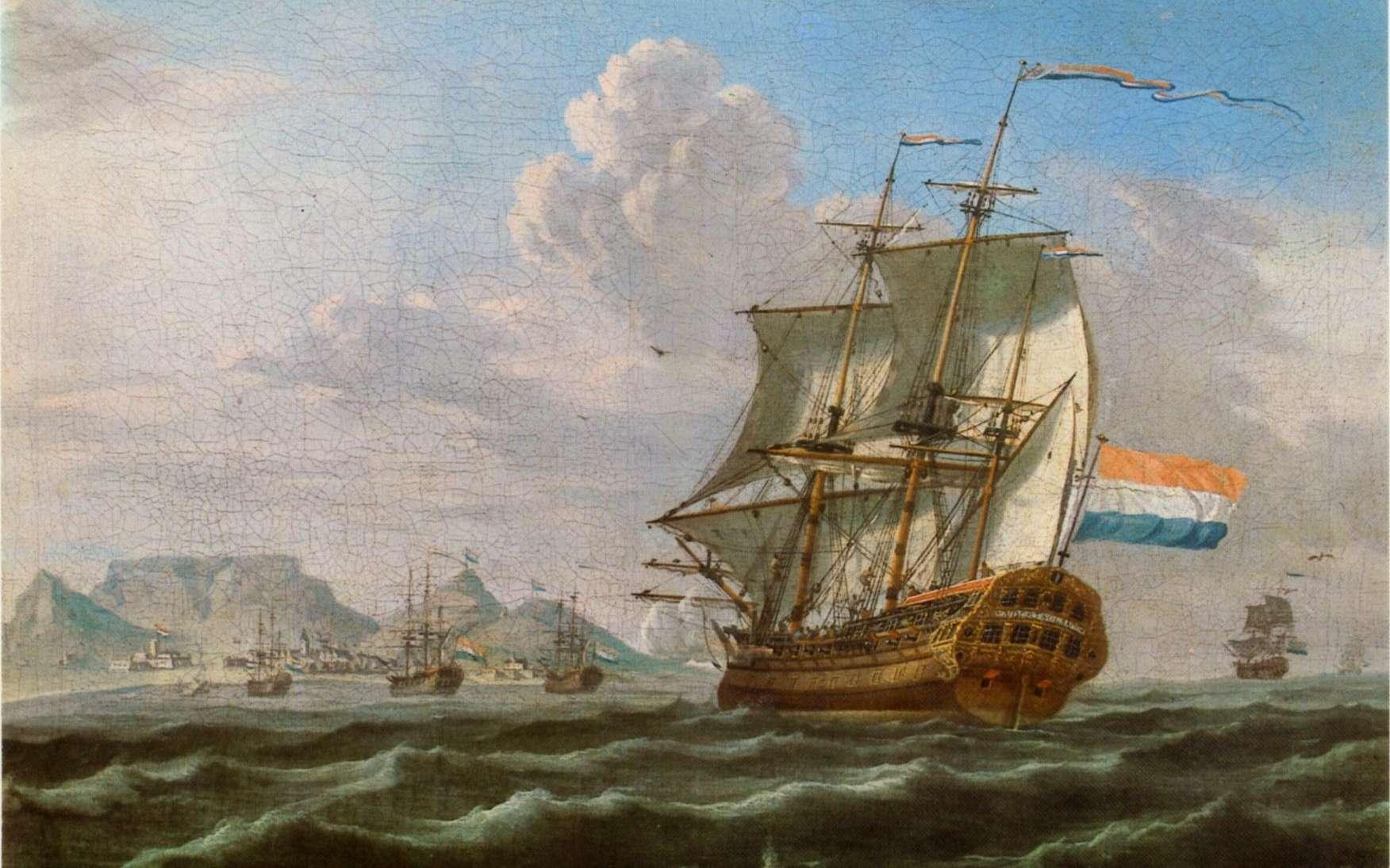 Navires de la Compagnie des Indes hollandaise, passage du Cap de Bonne Espérance, 1762 © Wikimedia commons, domaine public
