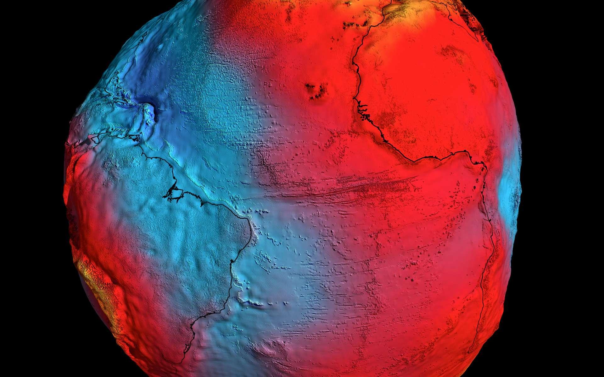 Tracée à partir des données fournies par le satellite Goce, cette carte du géoïde terrestre est la plus précise à ce jour. Son analyse va occuper les chercheurs pendant de nombreuses années dans des disciplines liées à la sismologie, l'océanographie et au changement climatique. © Esa/HDF/DLR