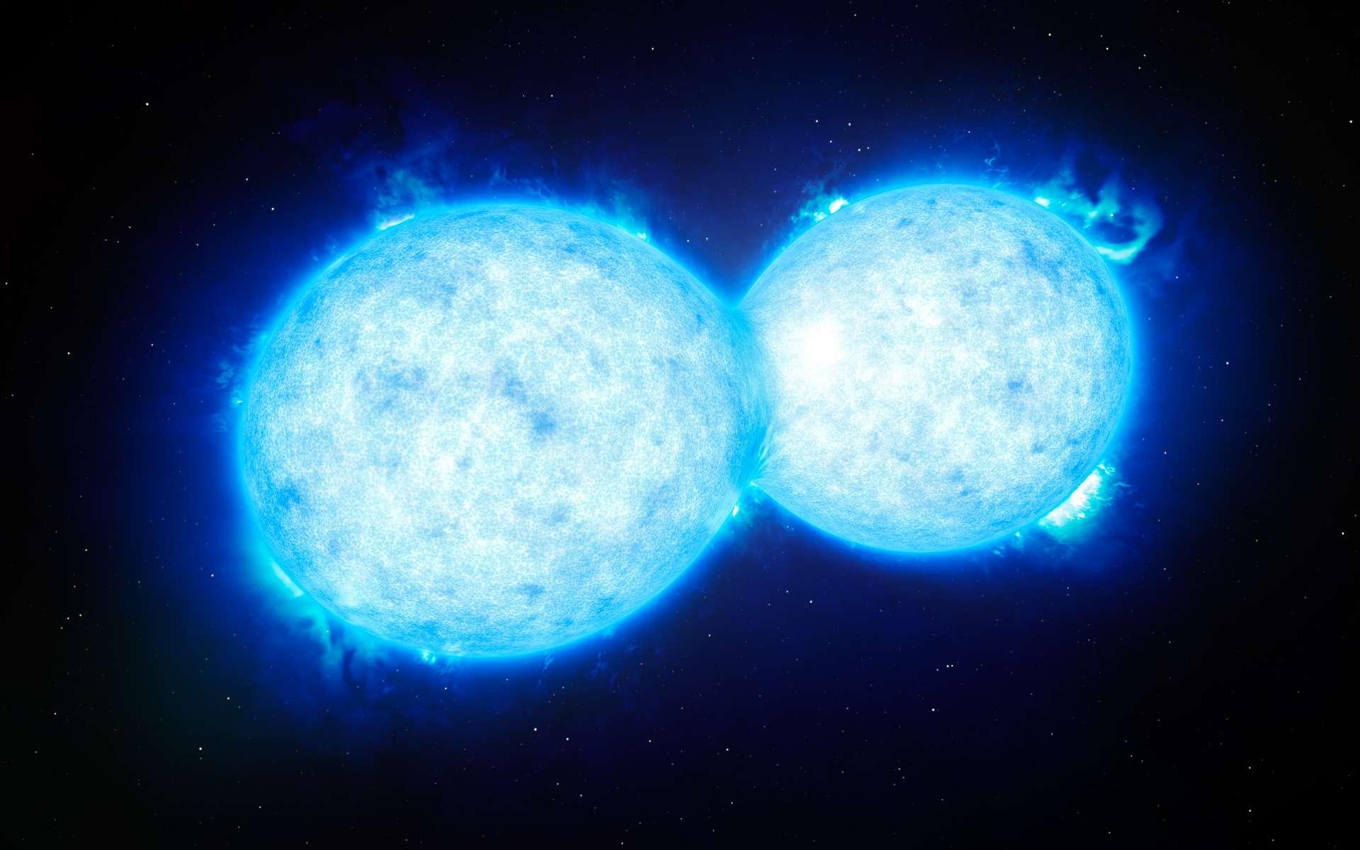 Cette vue d'artiste montre VFTS 532 – le système d'étoile double le plus chaud et le plus massif connu à ce jour –, dont les composantes, proches l'une de l'autre, partagent du contenu matériel. Les deux étoiles de ce système extrême se situent à quelque 160.000 années-lumière de la Terre, dans le Grand nuage de Magellan. Cette étrange paire s'achemine certainement vers une fin dramatique : la formation d'une unique étoile géante ou d'un futur trou noir binaire. © Eso, L. Calçada