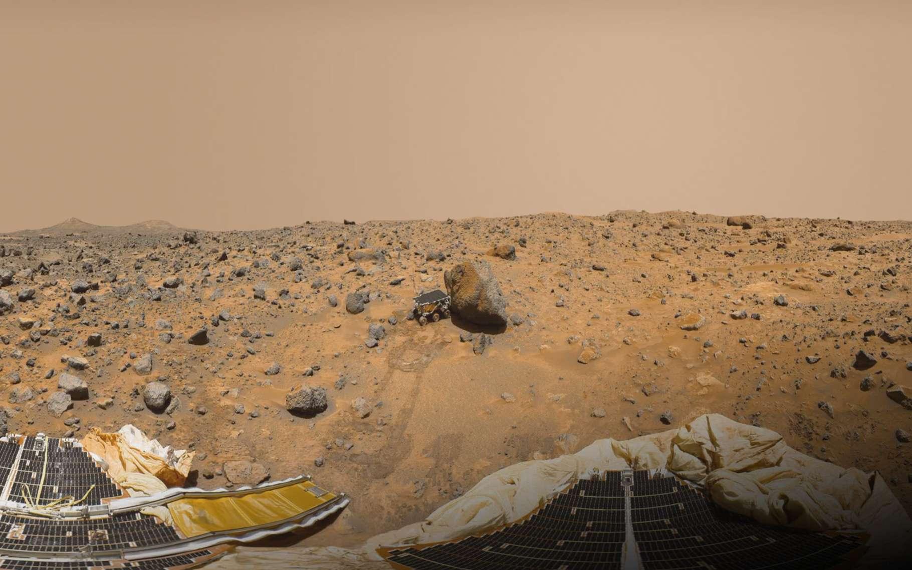 Sojourner, de la mission Pathfinder, est le premier rover à avoir foulé le sol martien, en 1997. © Nasa