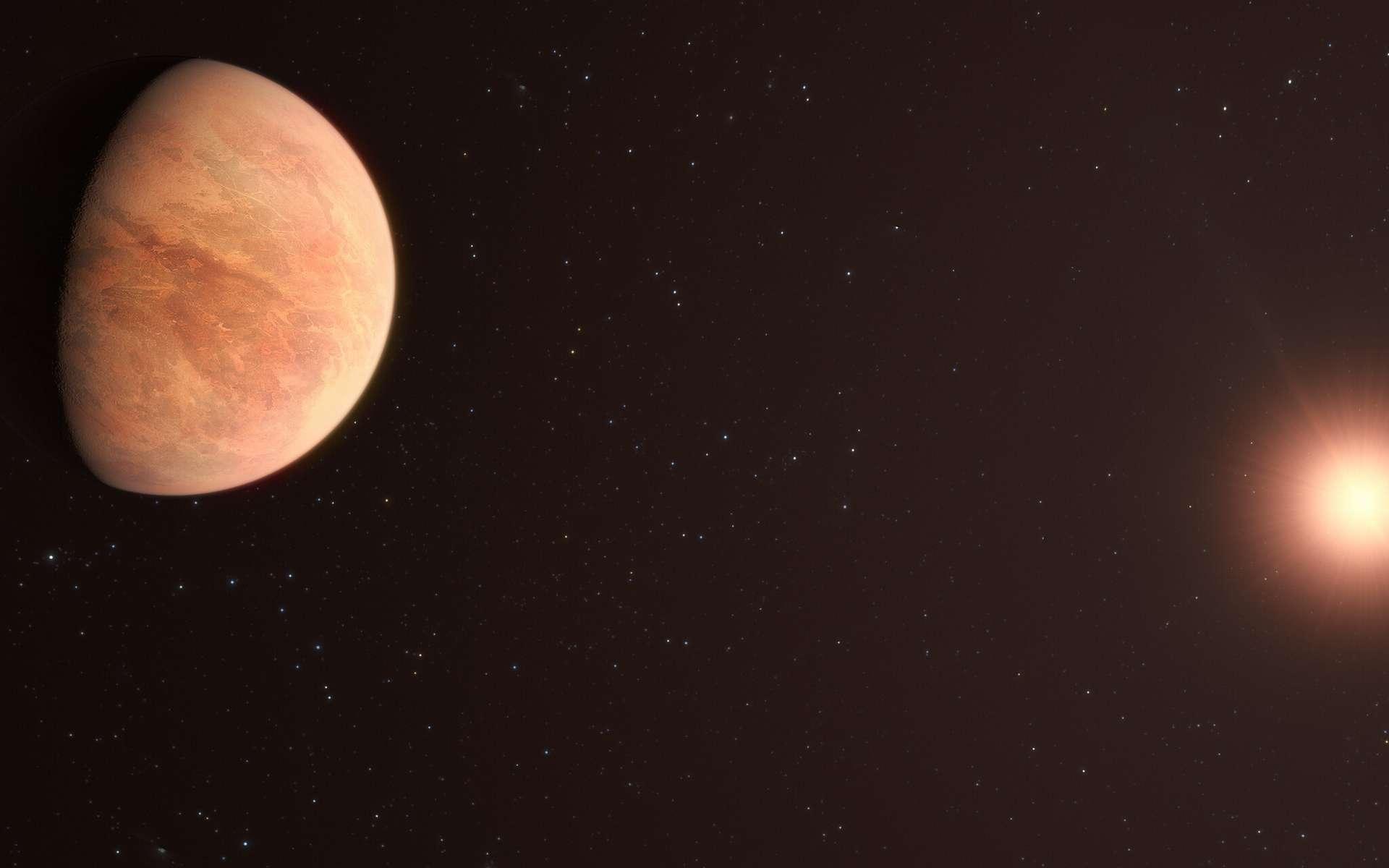 Cette vue d'artiste montre L 98-59b, l'une des planètes du système L 98-59 à 35 années-lumière. Le système contient quatre planètes rocheuses confirmées avec une cinquième potentielle, la plus éloignée de l'étoile, n'étant pas confirmée. En 2021, les astronomes ont utilisé les données de l'instrument Espresso (Echelle SPectrograph for Rocky Exoplanets and Stable Spectroscopic Observations) sur le VLT de l'ESO pour mesurer la masse de L 98-59 b, trouvant qu'elle était la moitié de celle de Vénus. Cela en fait la planète la plus légère mesurée à ce jour en utilisant la technique de la vitesse radiale. © ESO, M. Kornmesser