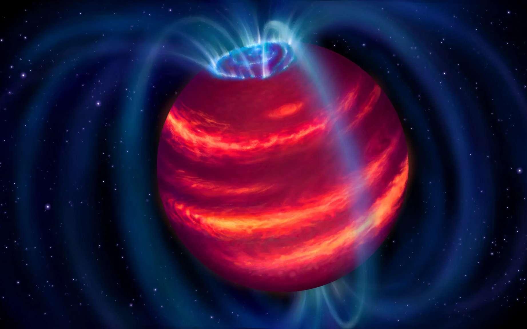 Vue d'artiste de BDR J1750+3809, alias Elegast. Les boucles bleues représentent les lignes de champ magnétique. Les particules chargées se déplaçant le long de ces lignes émettent des ondes radio, que Lofar a détectées. Certaines particules finissent par atteindre les pôles et produisent alors des aurores polaires, telles qu'on peut aussi en observer sur Terre. © Danielle Futselaar, Astron