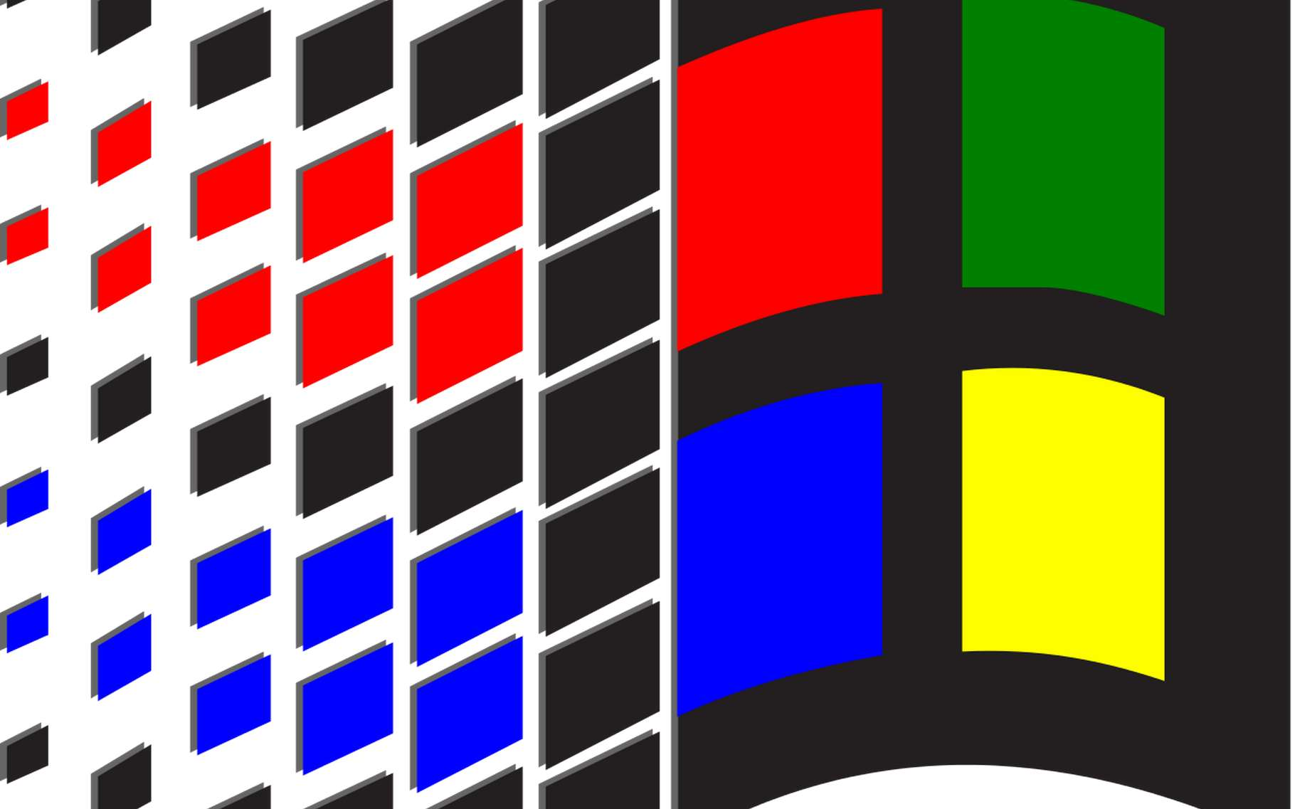 Le fameux logo de Windows 3.1. © Microsoft, DP, Wikimedia Commons