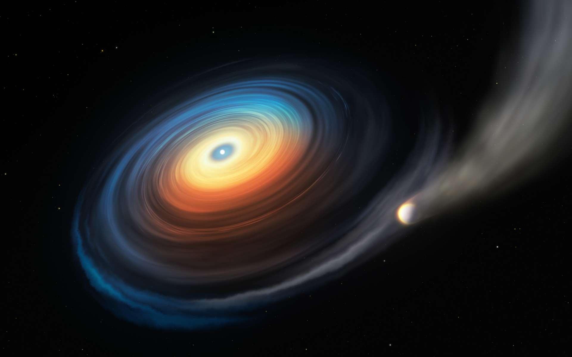 Sur cette vue d'artiste, figurent la naine blanche WDJ0914+1914 et son exoplanète de type Neptune. Parce que cette géante glacée orbite à proximité directe de la naine blanche chaude, l'intense rayonnement ultraviolet en provenance de l'étoile expulse l'atmosphère planétaire. La majorité du gaz éjecté s'échappe, le reste se concentre en un disque tourbillonnant autour de la naine blanche. © M. Kornmesser, ESO