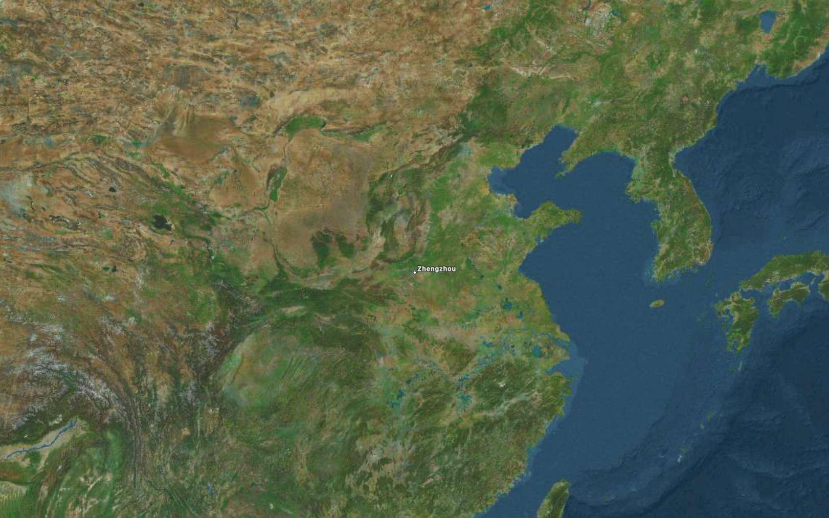 Zhengzhou est situé à 700 kilomètres au sud-ouest de Pékin. © Apple Plans