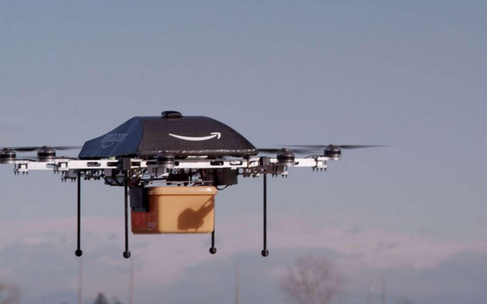 Drone Amazon Prime Air. Un premier client a été livré près de Cambridge, en Angleterre, le 7 décembre. © Amazon