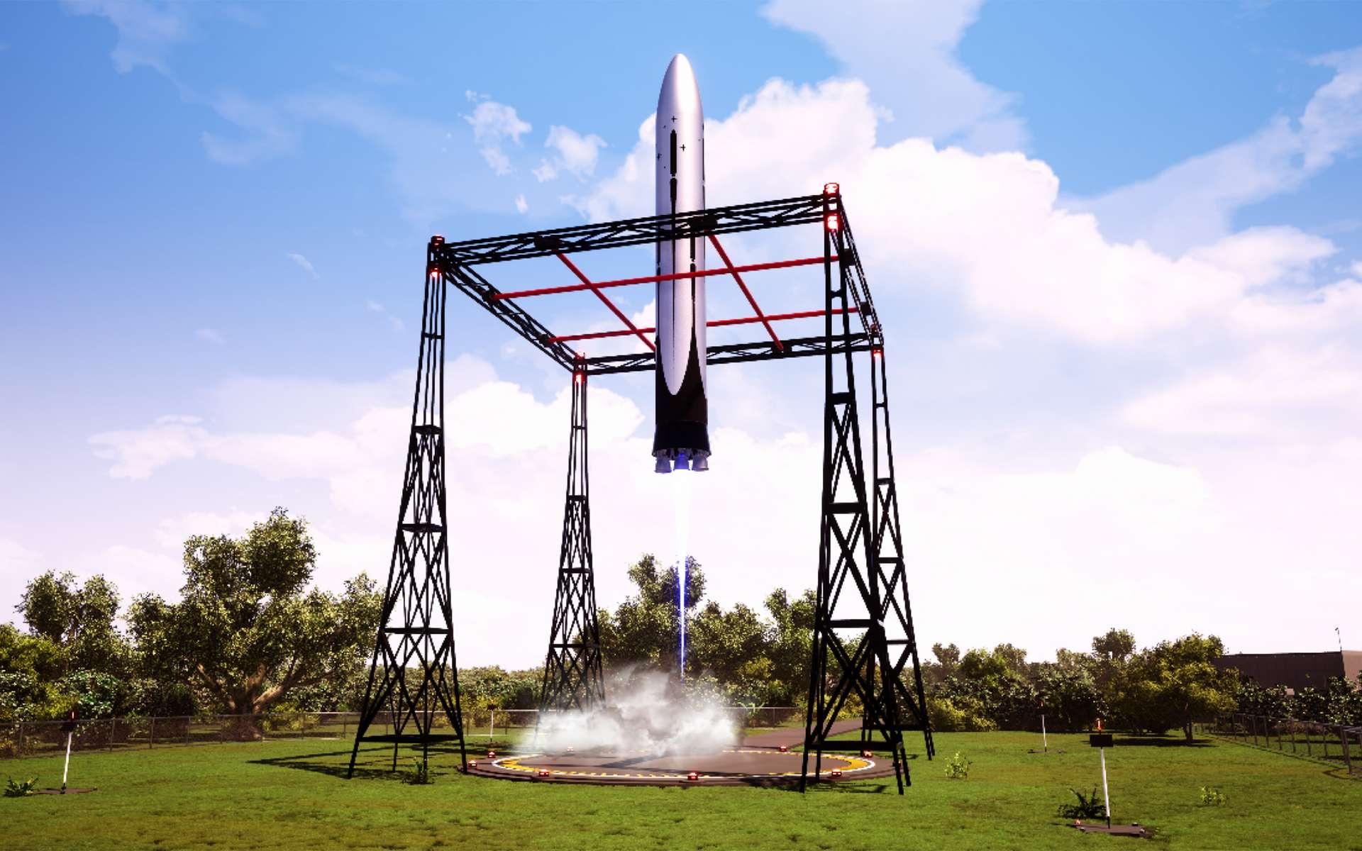 Smartcatcher, un concept de système d'atterrissage à l'étude pour Ariane Next, le lanceur qui succèdera à Ariane 6. © ArianeWorks, ADF/Latesys