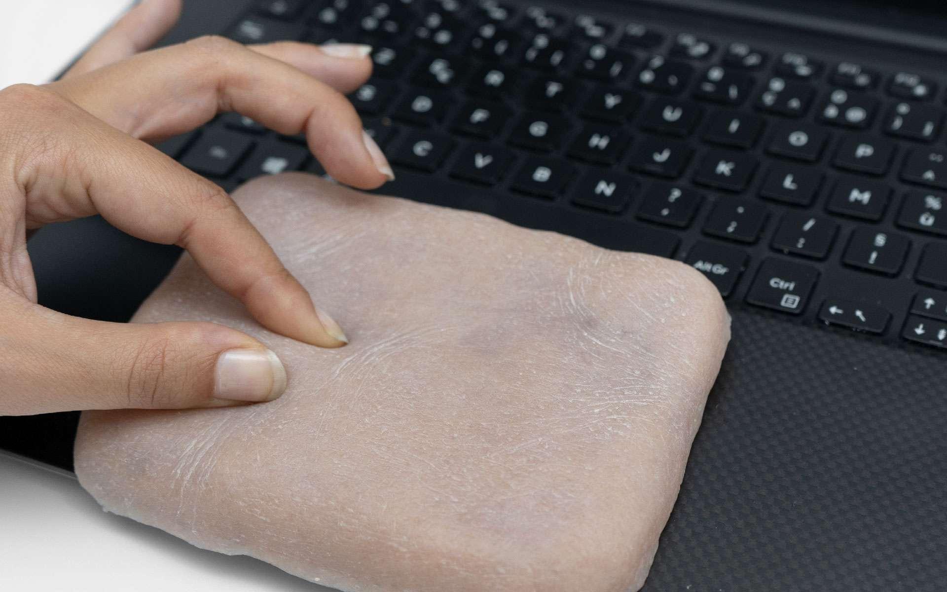 Cette surface pourrait bientôt remplacer les pavés tactiles des ordinateurs portables. © Marc Teyssier