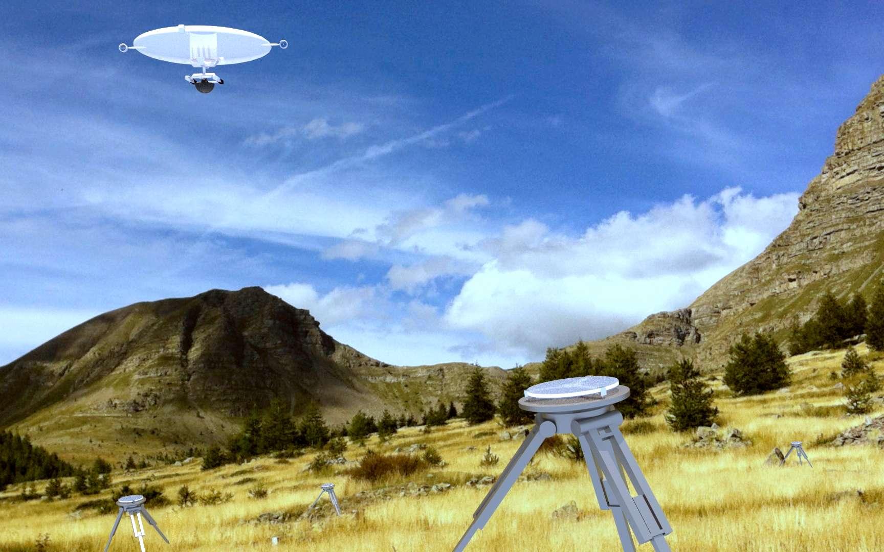 Simulation 3D d'une nacelle drone auto-portée en phase d'envol au-dessus des miroirs de l'hypertélescope. © hypertescope.org