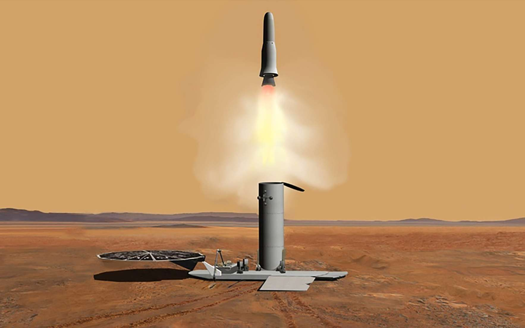 Étude conceptuelle d'un véhicule d'ascension martien (MAV) réalisée dans le cadre d'une mission de retour d'échantillons martiens. © Nasa, JPL-Caltech