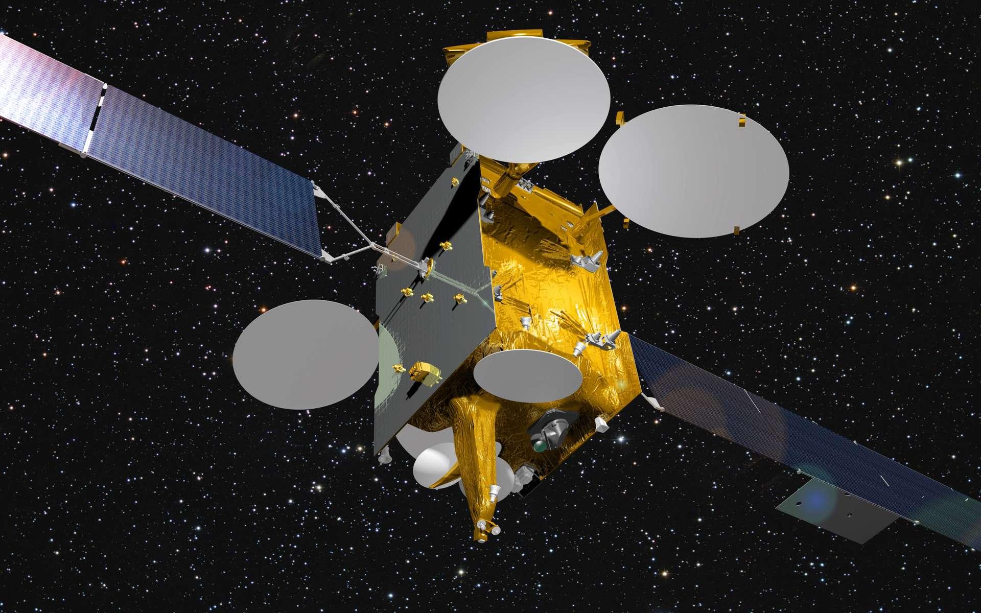 Le satellite Eutelsat-9B sera le premier à être doté d'un terminal EDRS pour relayer vers la Terre des données acquises par des satellites en orbite basse. Satellites qui devront être équipés d'un terminal laser pour envoyer leurs données vers les terminaux EDRS. © Astrium