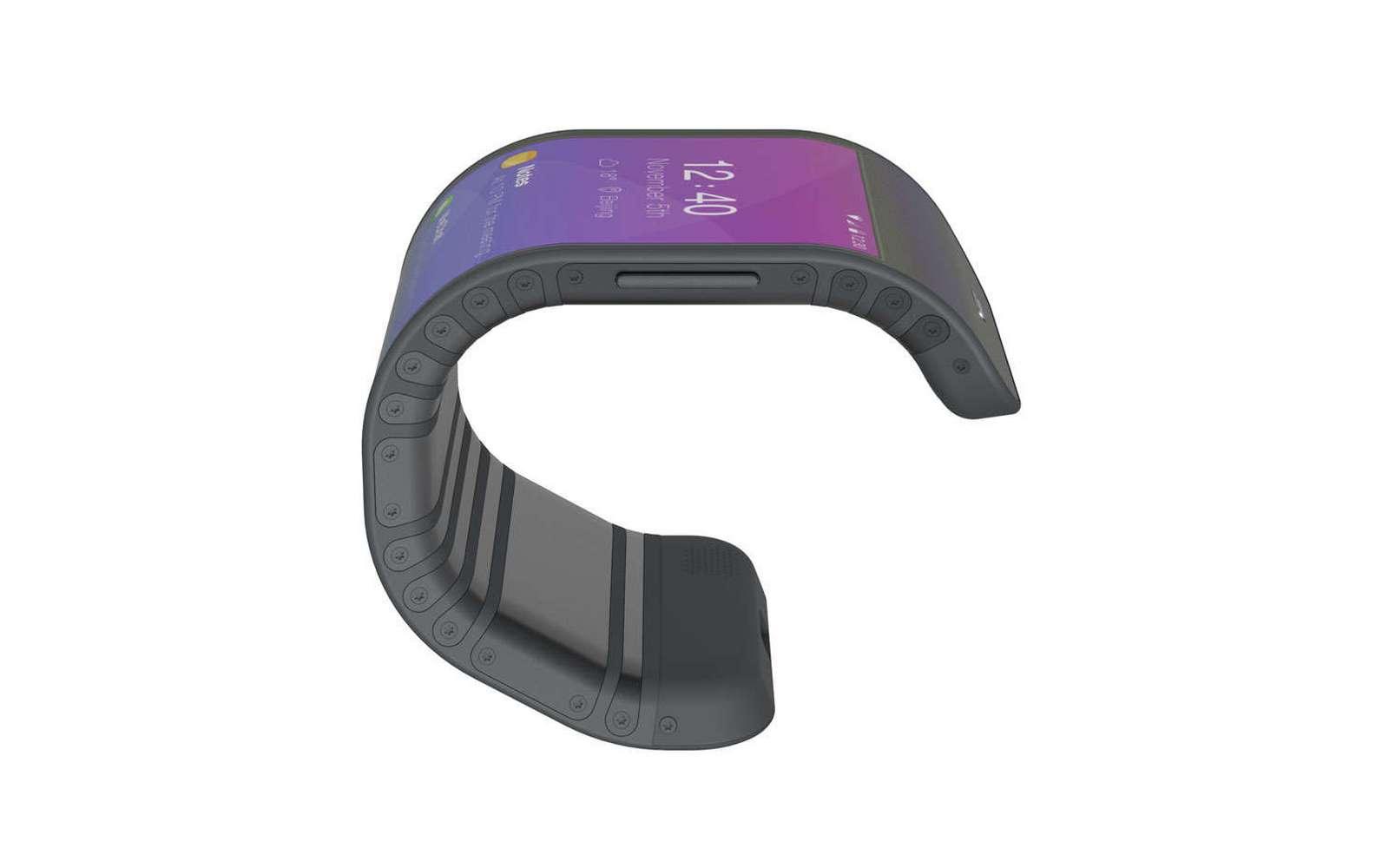Ce téléphone possède un écran souple et une coque crantée pour l'enrouler autour du poignet. © Lenovo