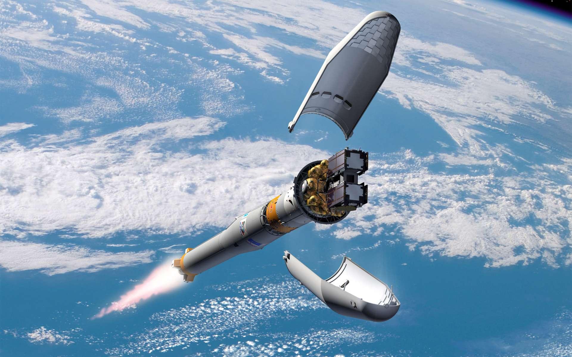Étape par étape, le futur système européen de localisation par satellites (Galileo) conçu pour concurrencer le GPS américain prend forme. © Esa/P. Carril