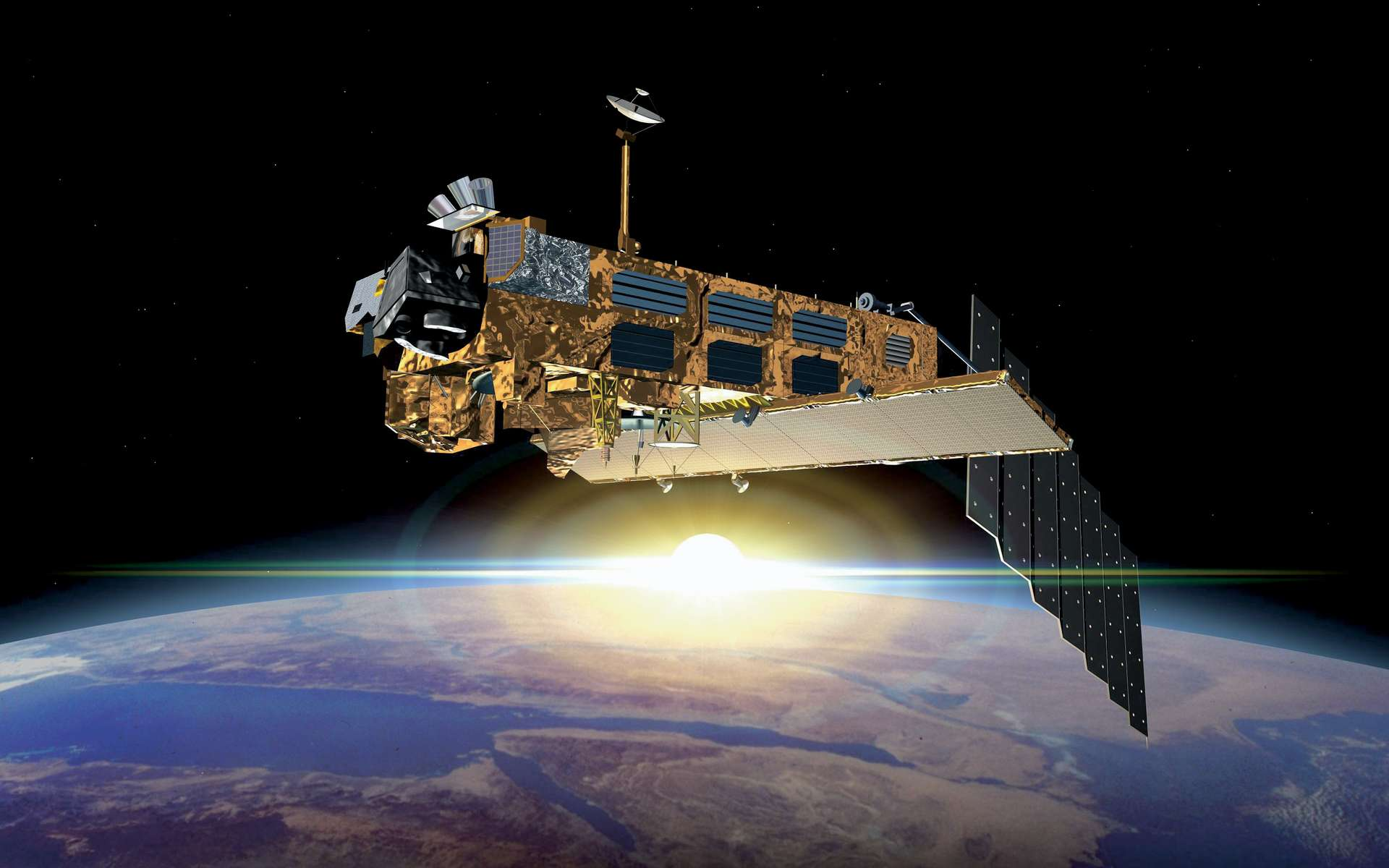 Envisat est le plus gros satellite d'observation jamais construit. Il pèse 8,2 tonnes et mesure 26 mètres de long, 10 de large et 5 de haut. Il embarque 10 instruments de mesure dont un radar, un radiomètre et un spectromètre. © Esa