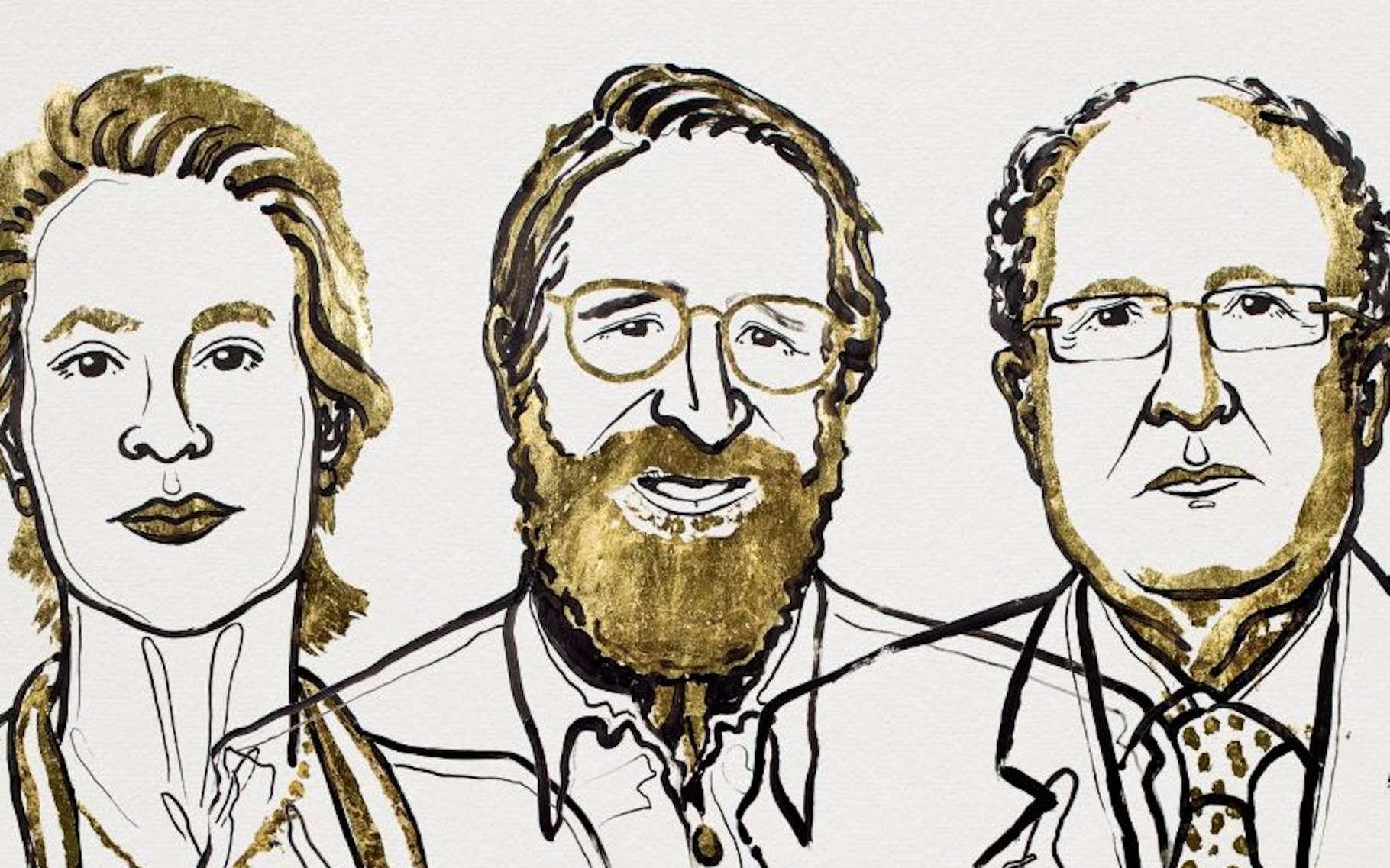 Frances H. Arnold, à gauche, George P. Smith, au centre et Sir Gregory Winter, à droite, ont été récompensés du prestigieux prix Nobel de chimie, le mercredi 3 octobre 2018. La première pour ses travaux pionniers sur « l'évolution dirigée des enzymes » et ses confères pour le développement d'une technique innovante dite de « phage display des peptides et des anticorps ». © Niklas Elmehed, Nobel Media