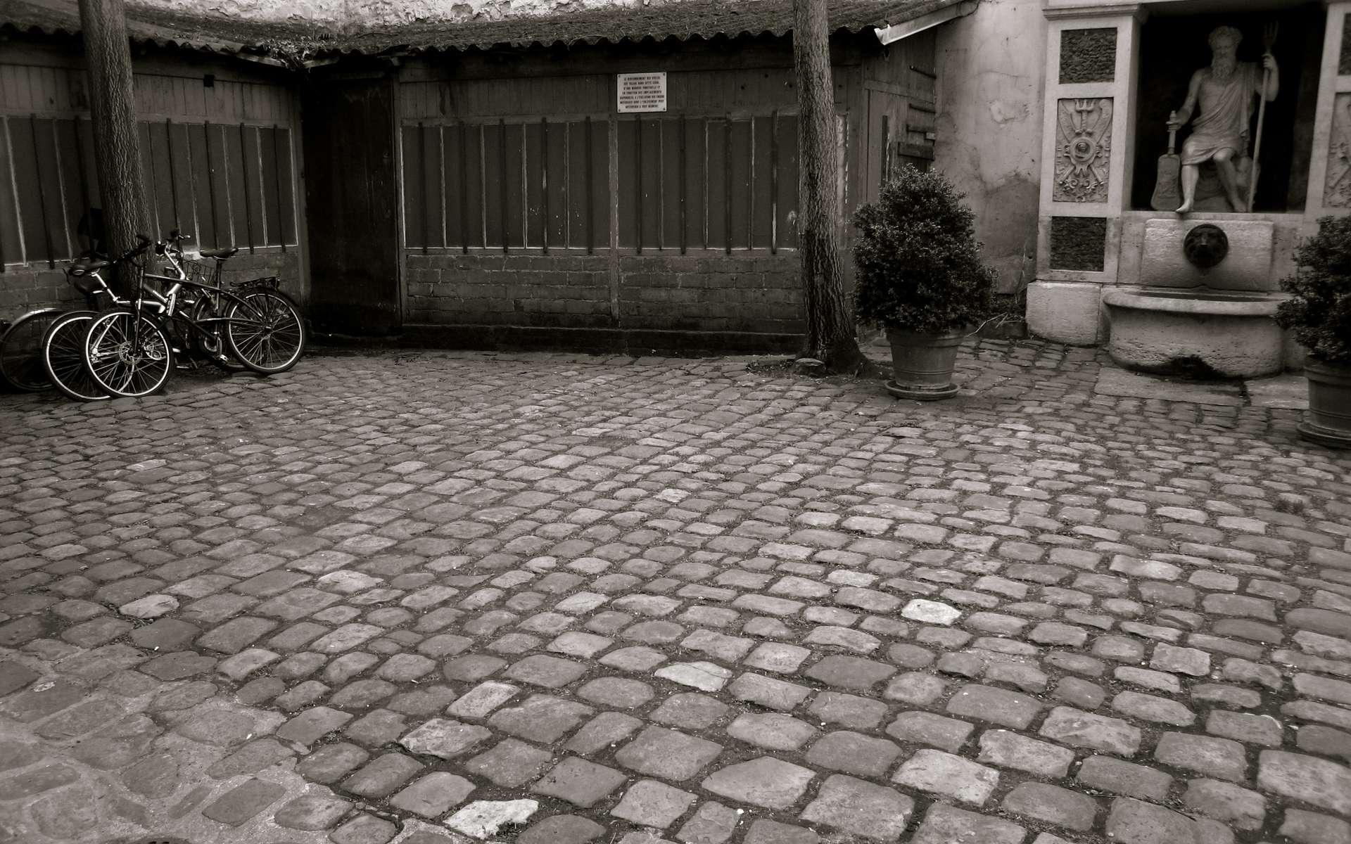 Le siphon de cour (situé en bas à gauche sur la photographie) permet à l'eau de s'écouler et d'être évacuée. © john-aïves-1946, CC BY-NC-ND 2.0,