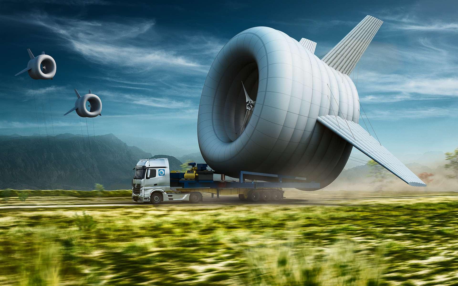 L'Airborne Wind Turbine est un concept d'éolienne volante né d'un projet du MIT (Massachusetts Institute of Technology) et de l'université de Harvard. Il est porté par une entreprise, Altaeros Energies, qui traverse aujoud'hui la fameuse « vallée de la mort », c'est-à-dire le passage entre le concept et la réussite commerciale. La société a été aidée financièrement par le fonds Softbank, dont le président-fondateur, Masayoshi Son, fait partie de l'équipe de la Breakthrough Energy Coalition. © Altaeros Energies