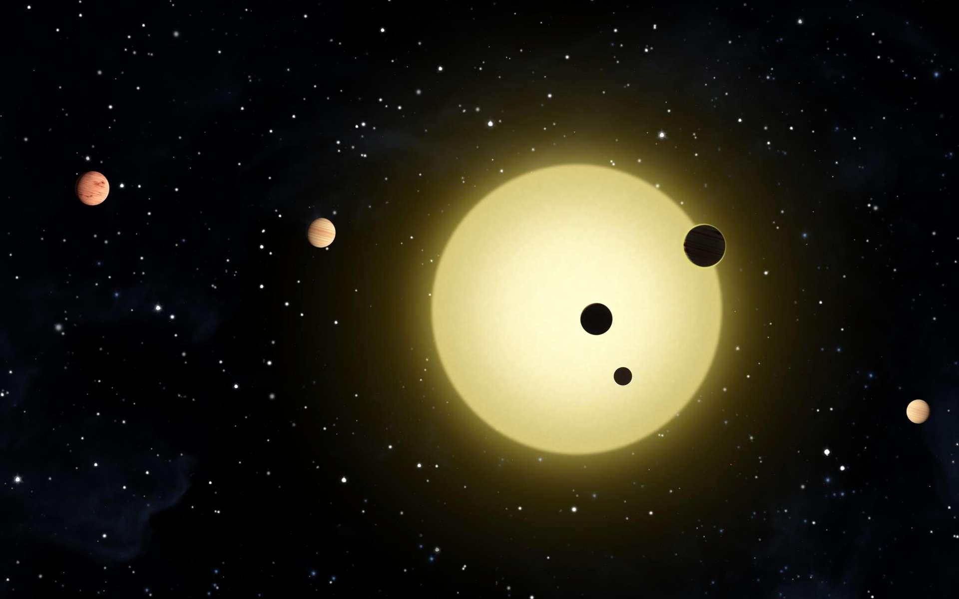 Illustration des planètes en transit devant l'étoile Kepler-11. © Nasa
