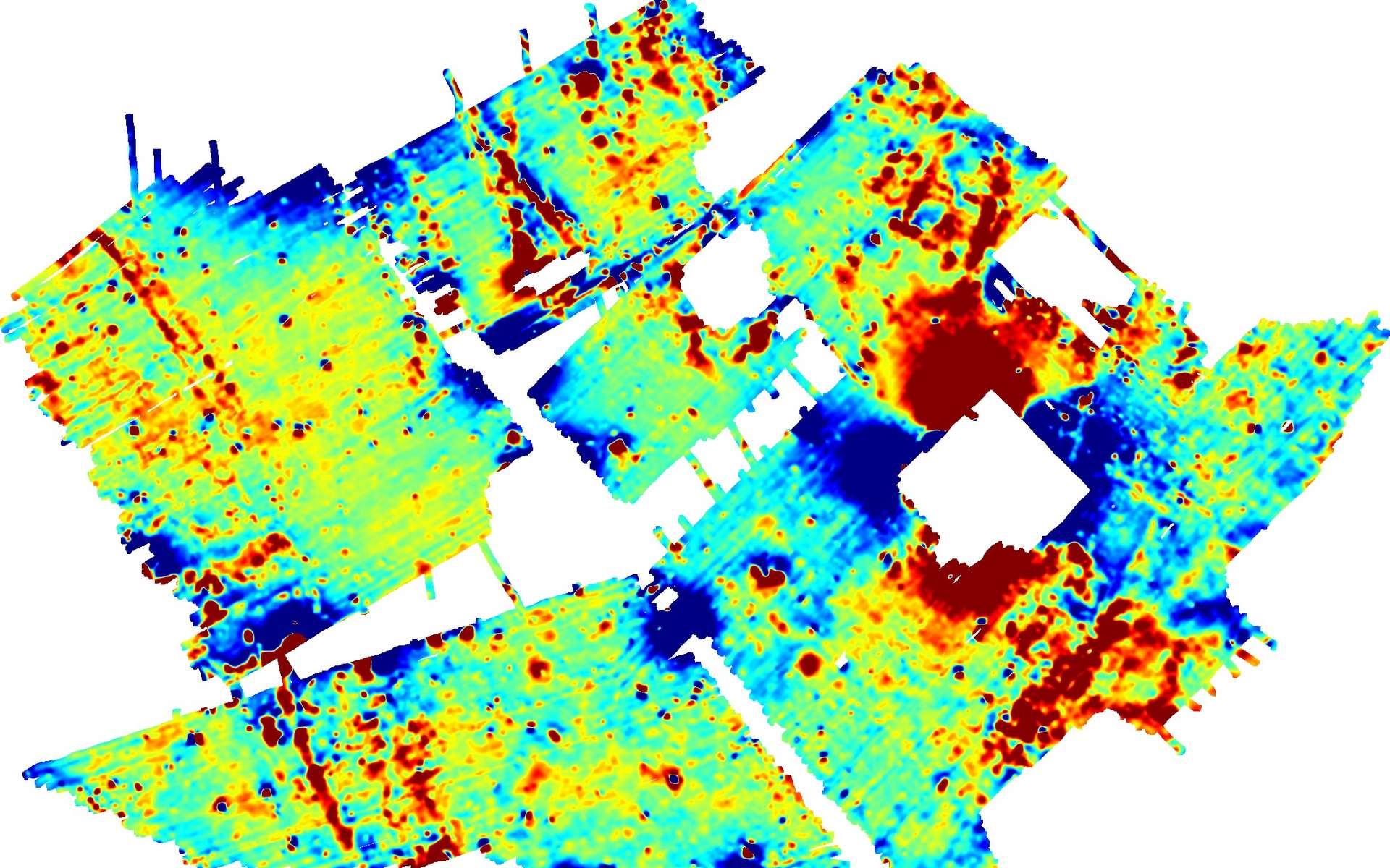 Carte d'anomalie magnétique sur un site archéologique. © Bruno Gavazzi