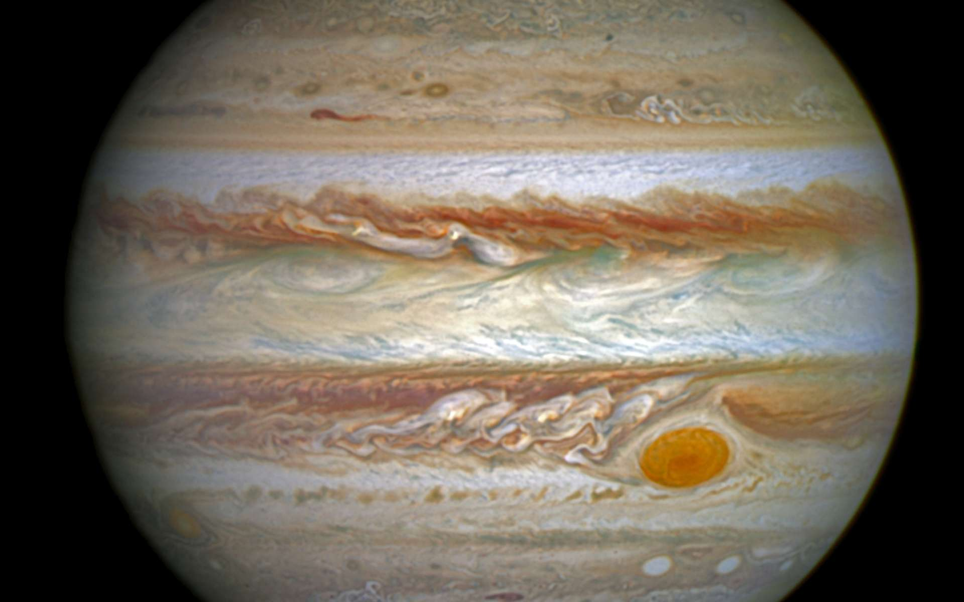 Durant un mois, Hubble a imagé chaque jour dans l'ultraviolet lointain, les aurores au-dessus du pôle nord de Jupiter. Elles sont plus grandes que la Terre et des centaines de fois plus puissantes que celles que l'on peut observer dans le ciel terrestre aux hautes latitudes. © Nasa, Esa, J. Nichols (University of Leicester)