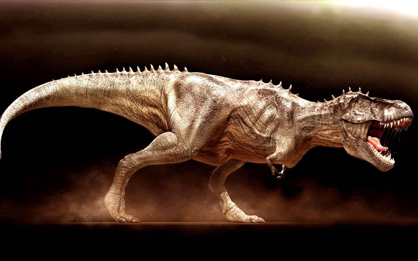 Le T-rex qui, selon la légende, était un prédateur hors pair, était en réalité plutôt lent. Il ne courrait qu'à 30 km/heure. Pas mal pour un animal de 6 tonnes mais pas non plus spectaculaire pour un soi-disant « roi de la vie animale ». Osborn, l'auteur de ces mots, et Brown s'étaient en fait empressés de faire du « paléo-show » pour vernir leur réputation. À la décharge de l'animal, il pouvait tout de même arracher jusqu'à 35 kilos de viande fraîche en un coup de mâchoire ! © Courtesy of Vlad Konstantinov