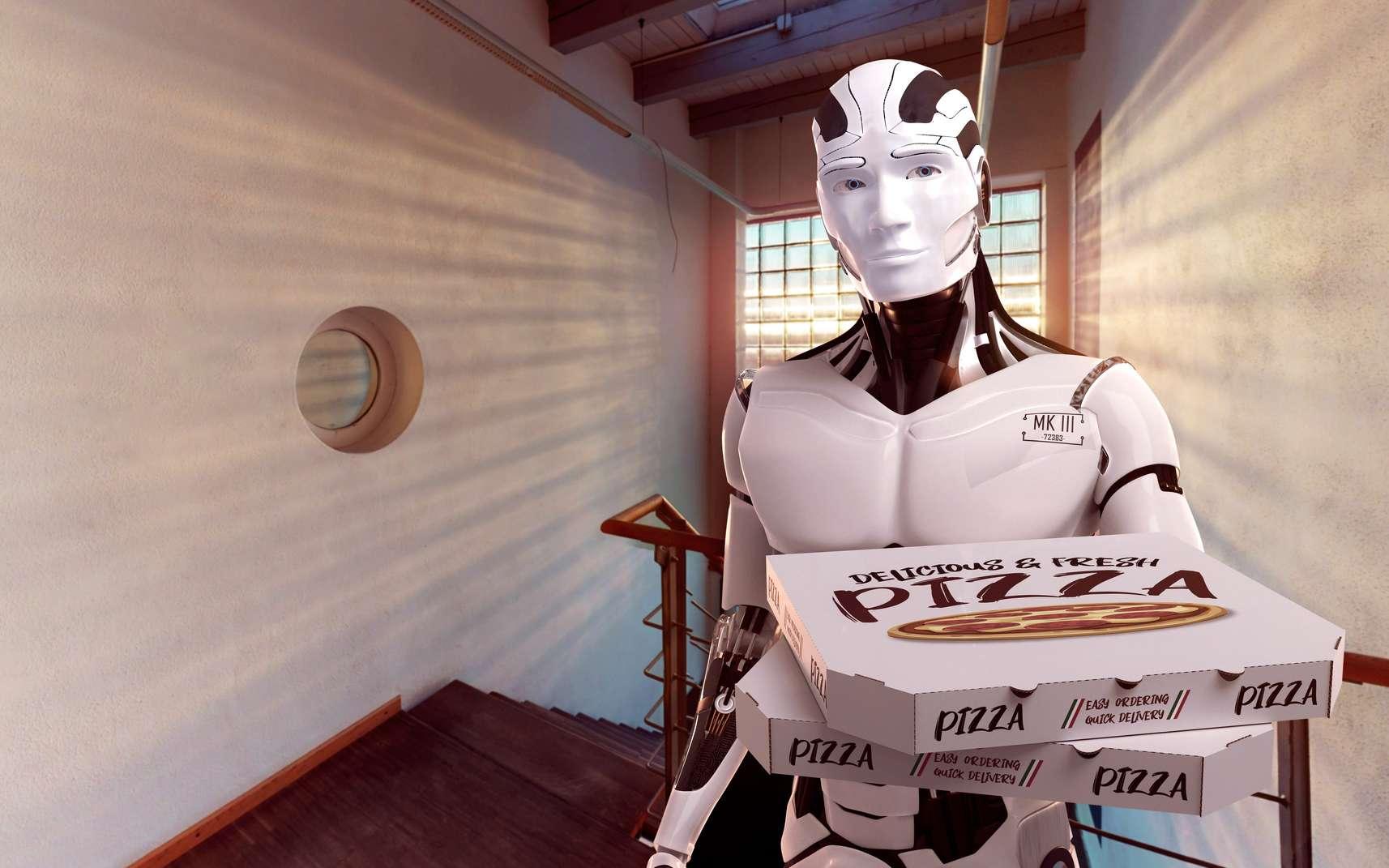 Le robot Pazzi travaille dans une cuisine transparente pour que les clients puissent suivre la fabrication de leur pizza. © Fotomek, Fotolia
